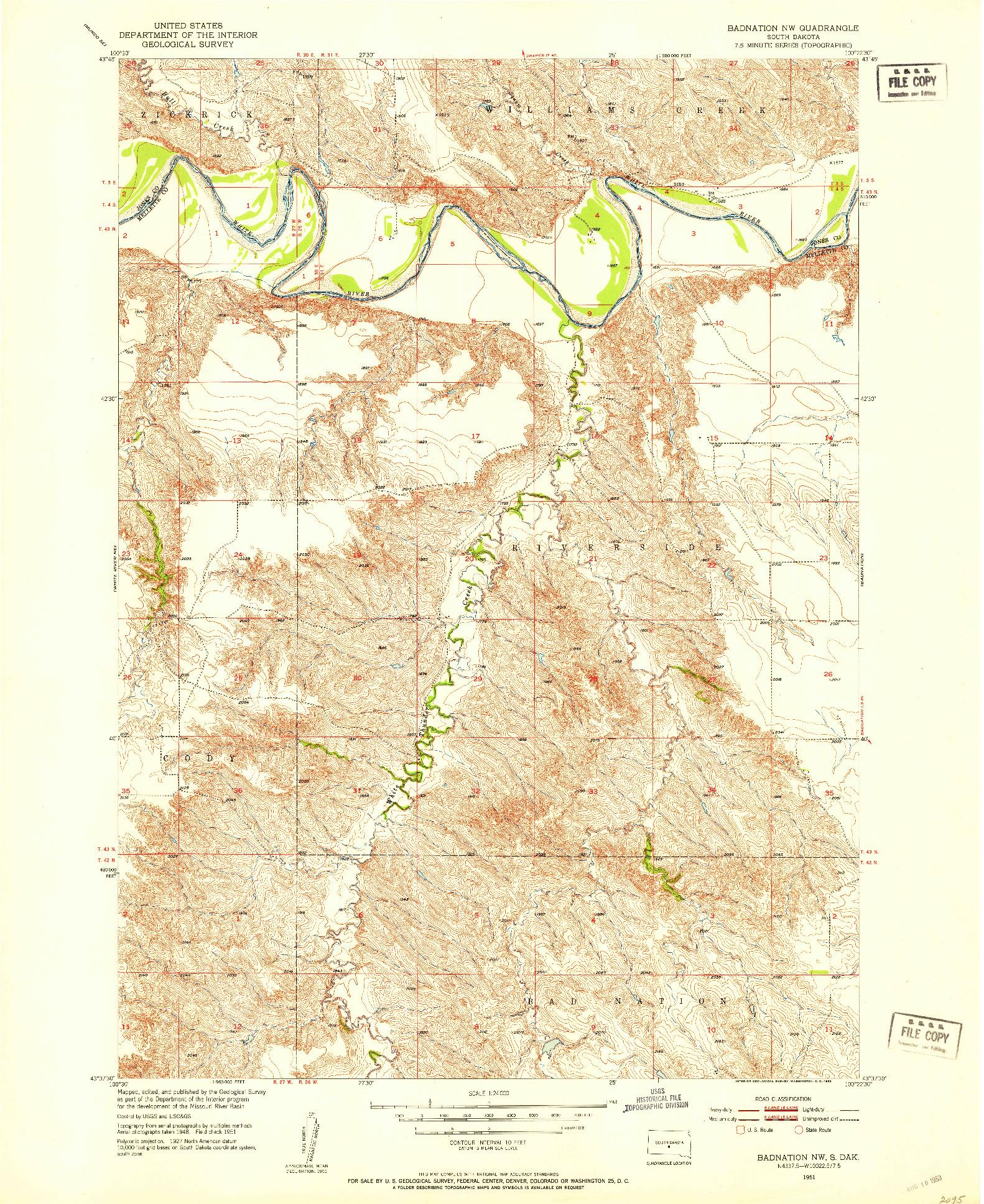 USGS 1:24000-SCALE QUADRANGLE FOR BADNATION NW, SD 1951