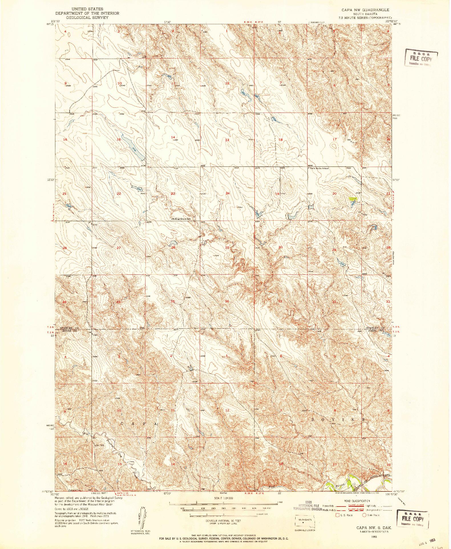 USGS 1:24000-SCALE QUADRANGLE FOR CAPA NW, SD 1951