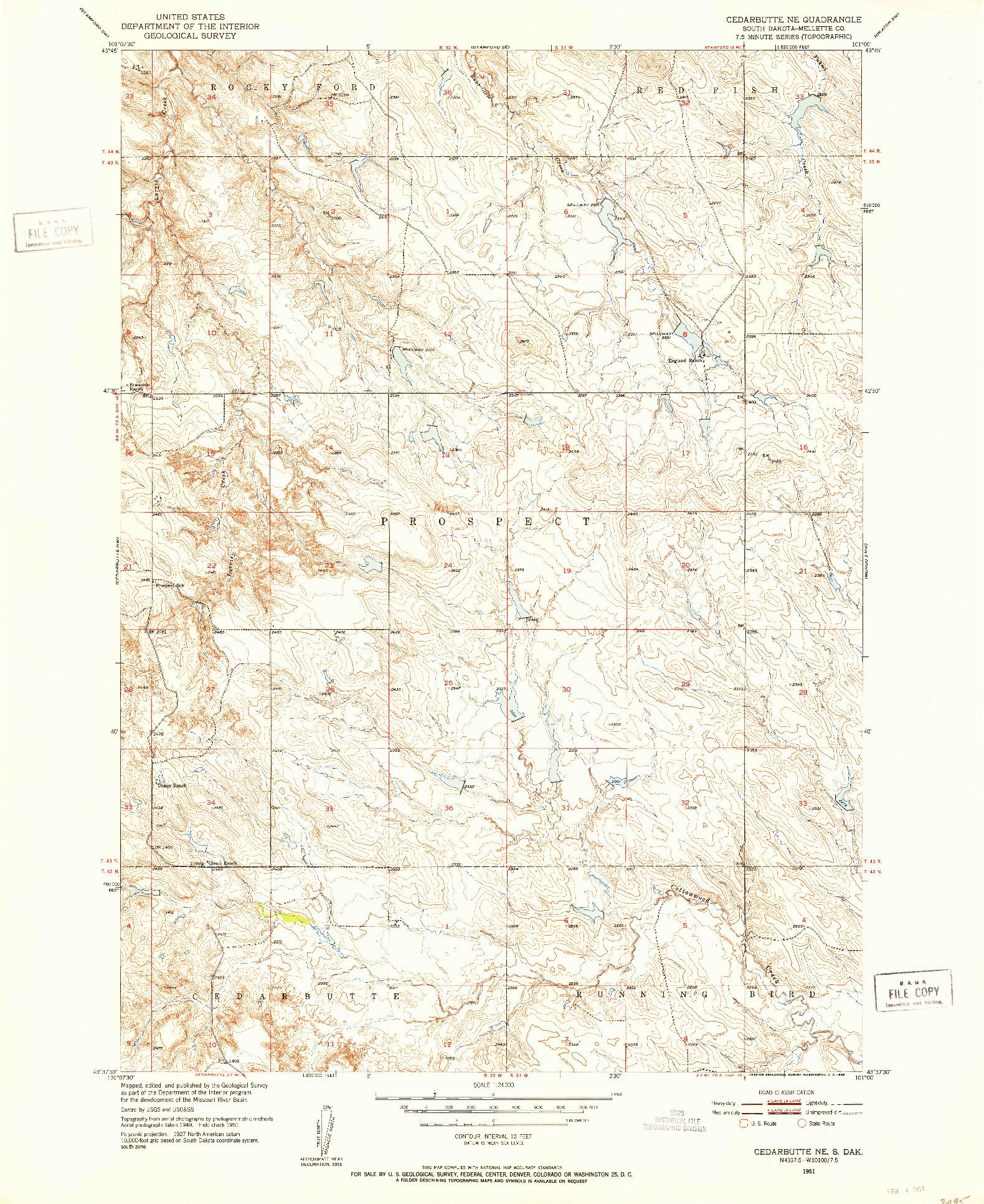 USGS 1:24000-SCALE QUADRANGLE FOR CEDAR BUTTE NE, SD 1951