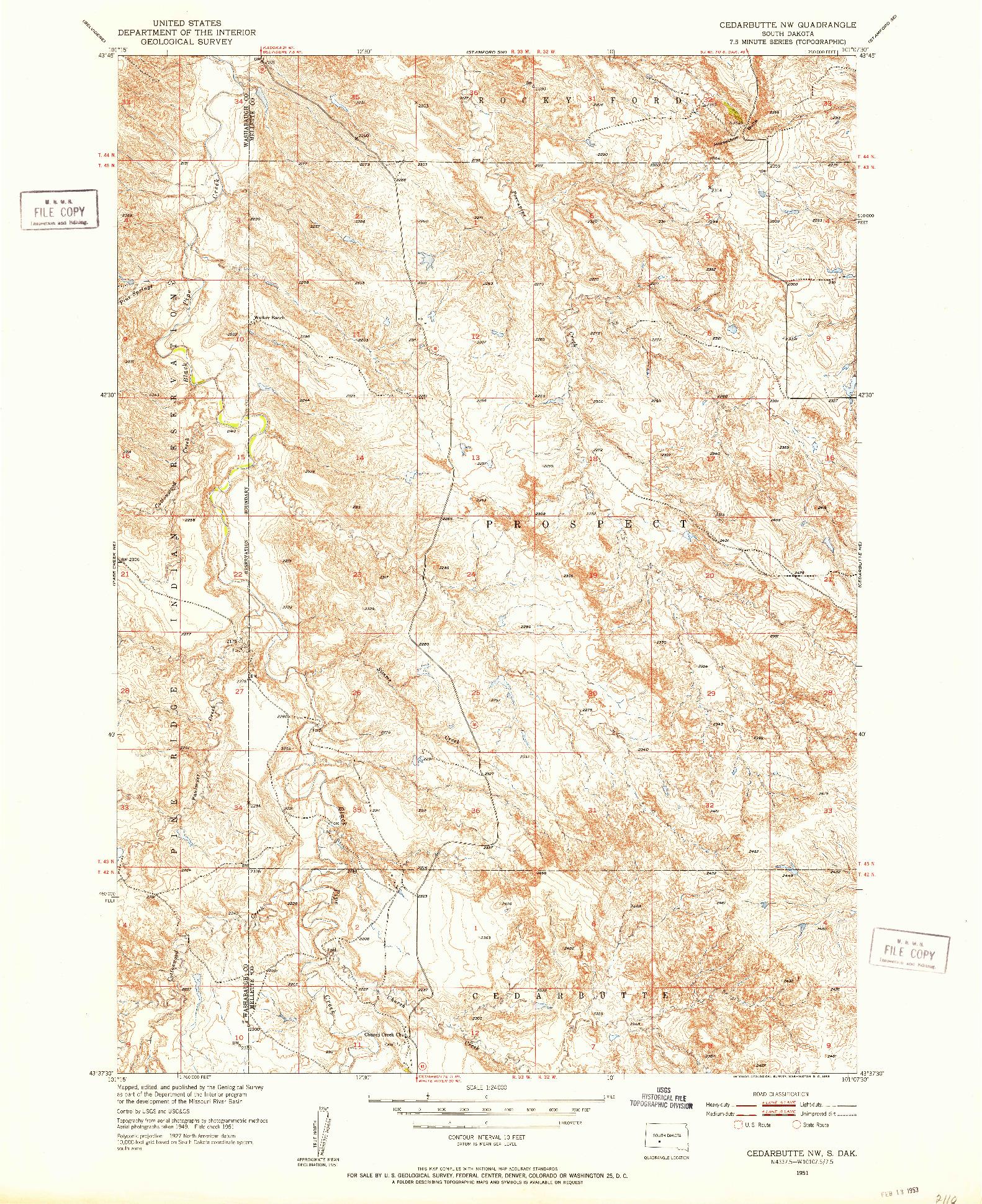 USGS 1:24000-SCALE QUADRANGLE FOR CEDAR BUTTE NW, SD 1951