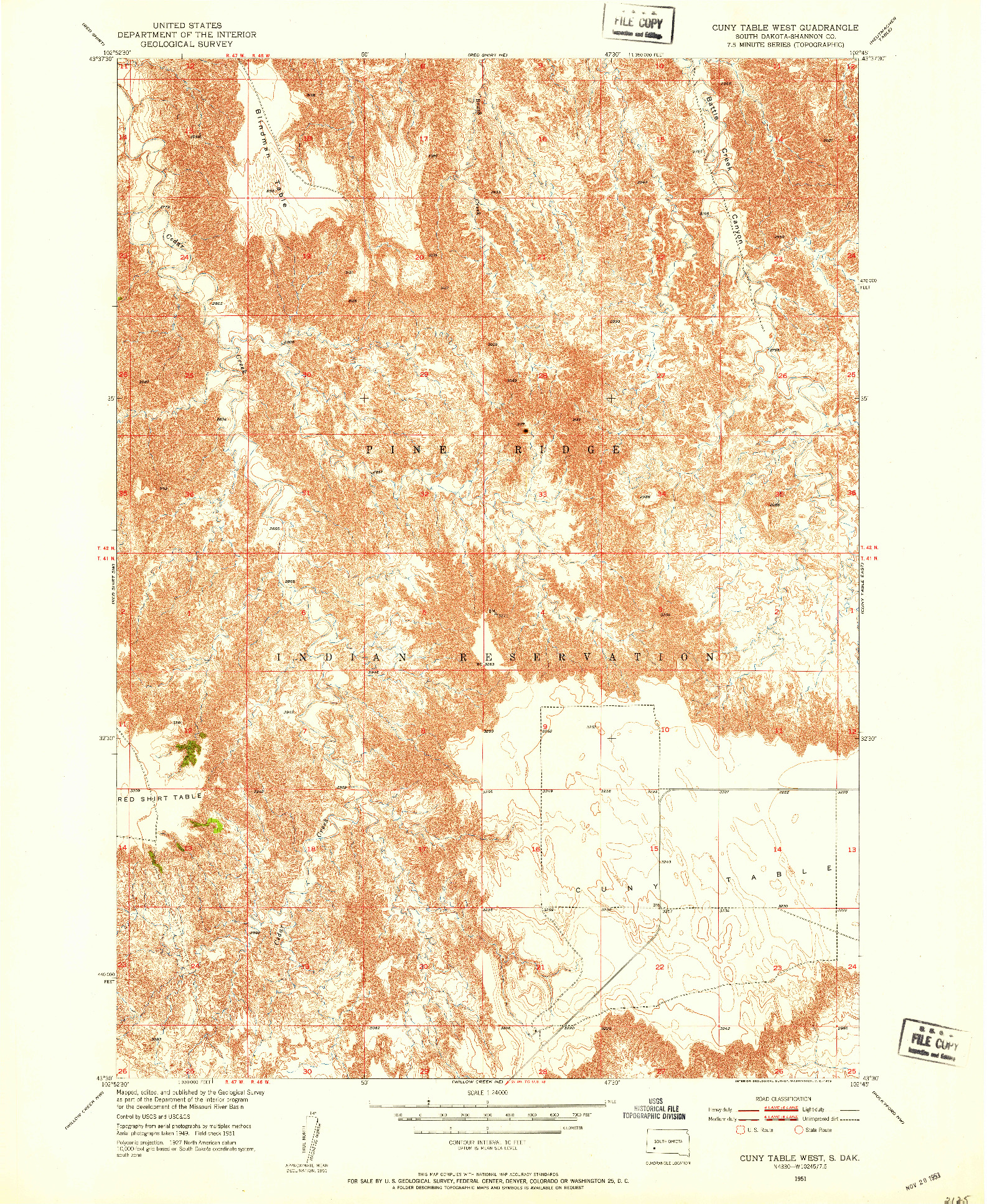 USGS 1:24000-SCALE QUADRANGLE FOR CUNY TABLE WEST, SD 1951