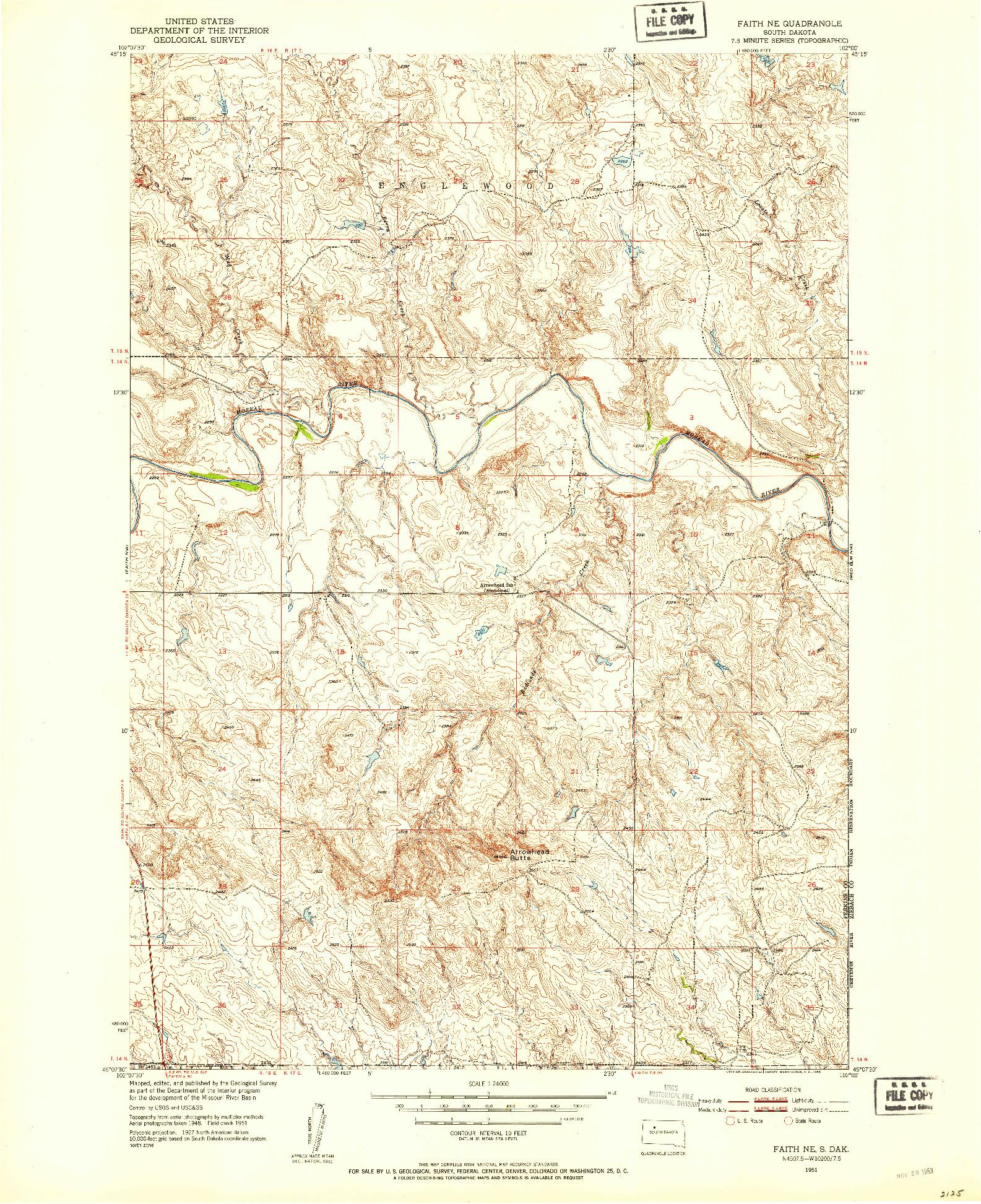 USGS 1:24000-SCALE QUADRANGLE FOR FAITH NE, SD 1951