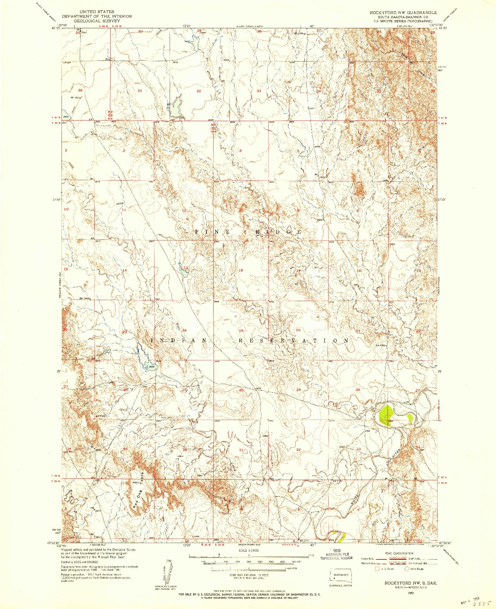 USGS 1:24000-SCALE QUADRANGLE FOR ROCKYFORD NW, SD 1951