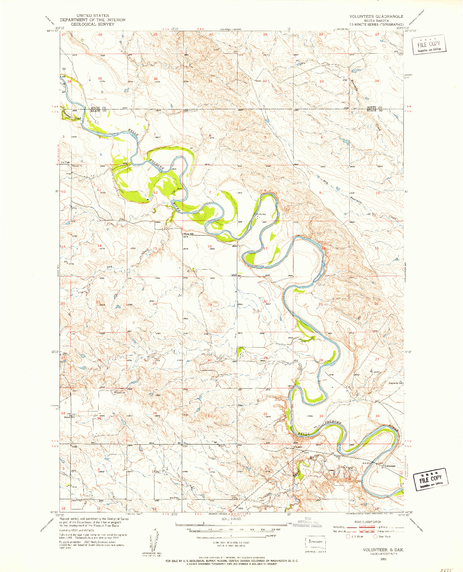 USGS 1:24000-SCALE QUADRANGLE FOR VOLUNTEER, SD 1951