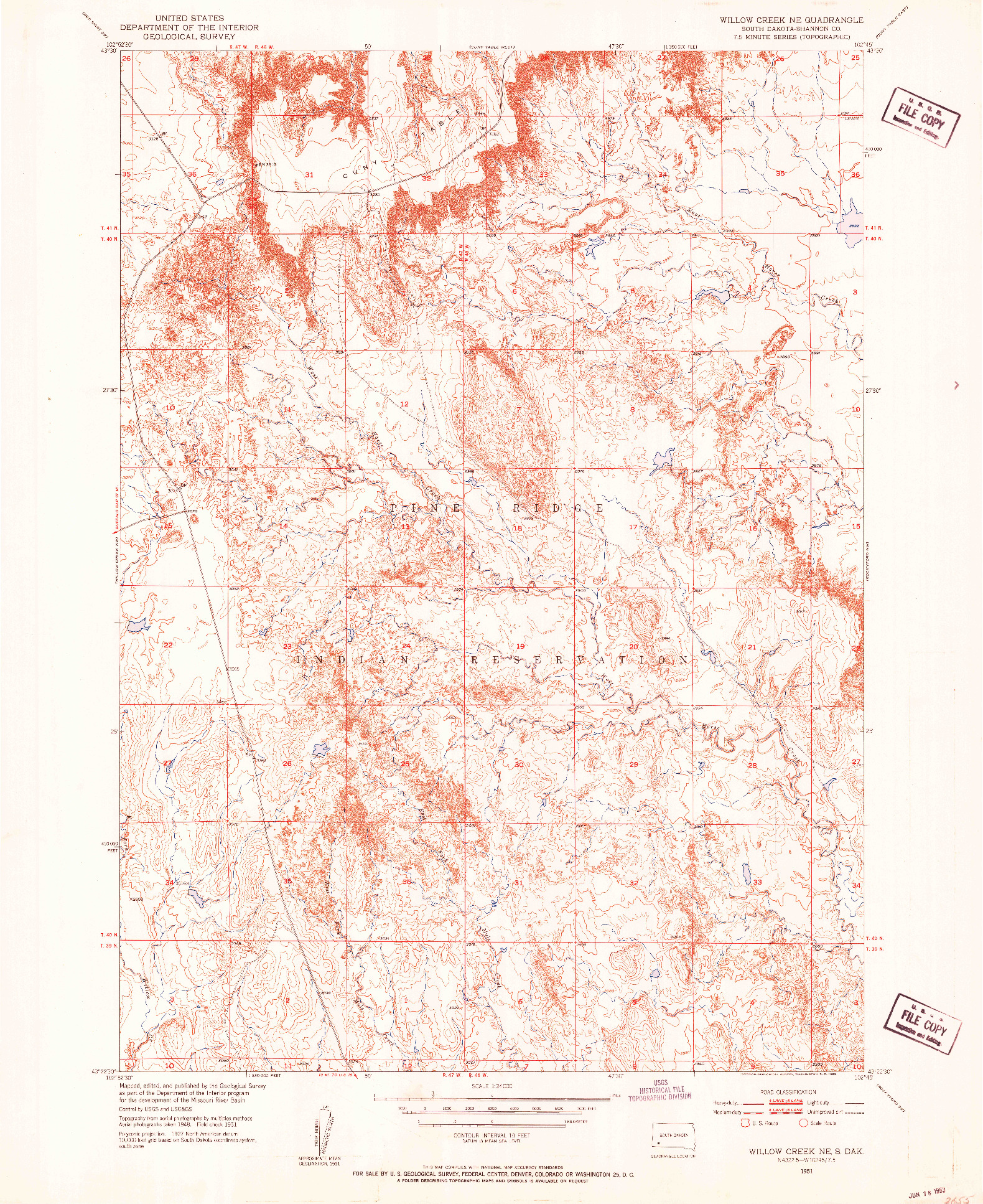 USGS 1:24000-SCALE QUADRANGLE FOR WILLOW CREEK NE, SD 1951