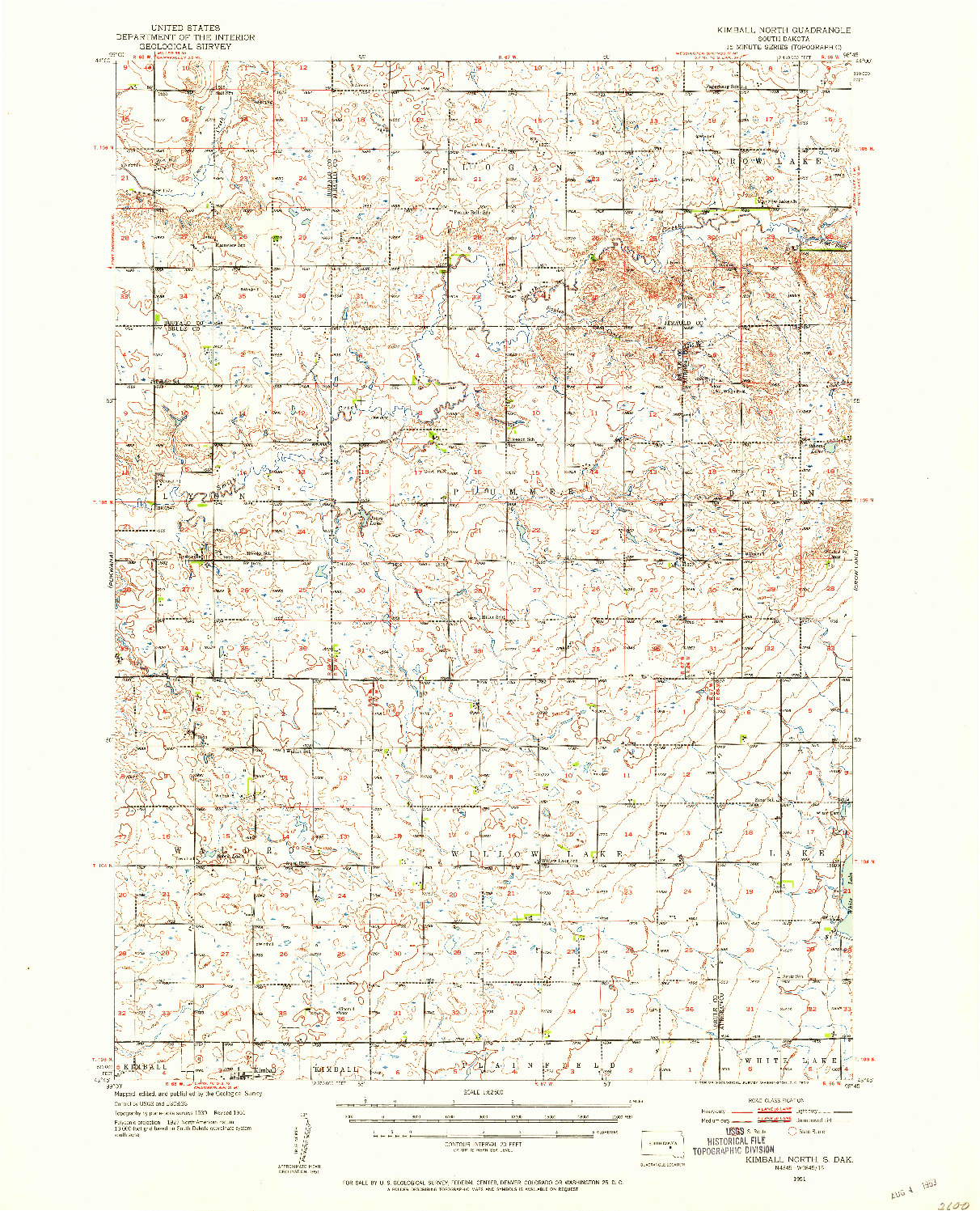 USGS 1:62500-SCALE QUADRANGLE FOR KIMBALL NORTH, SD 1951