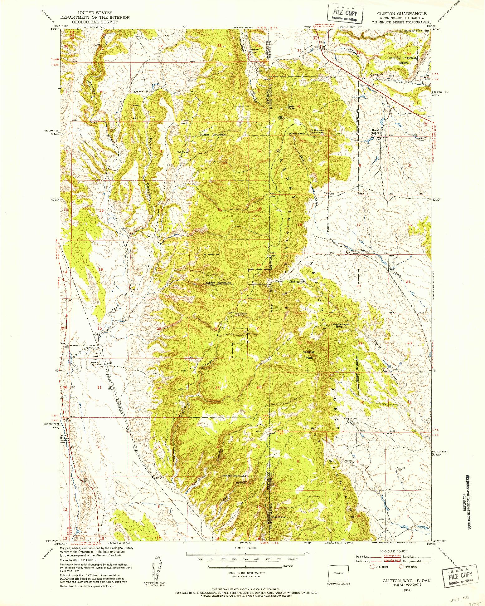 USGS 1:24000-SCALE QUADRANGLE FOR CLIFTON, WY 1951