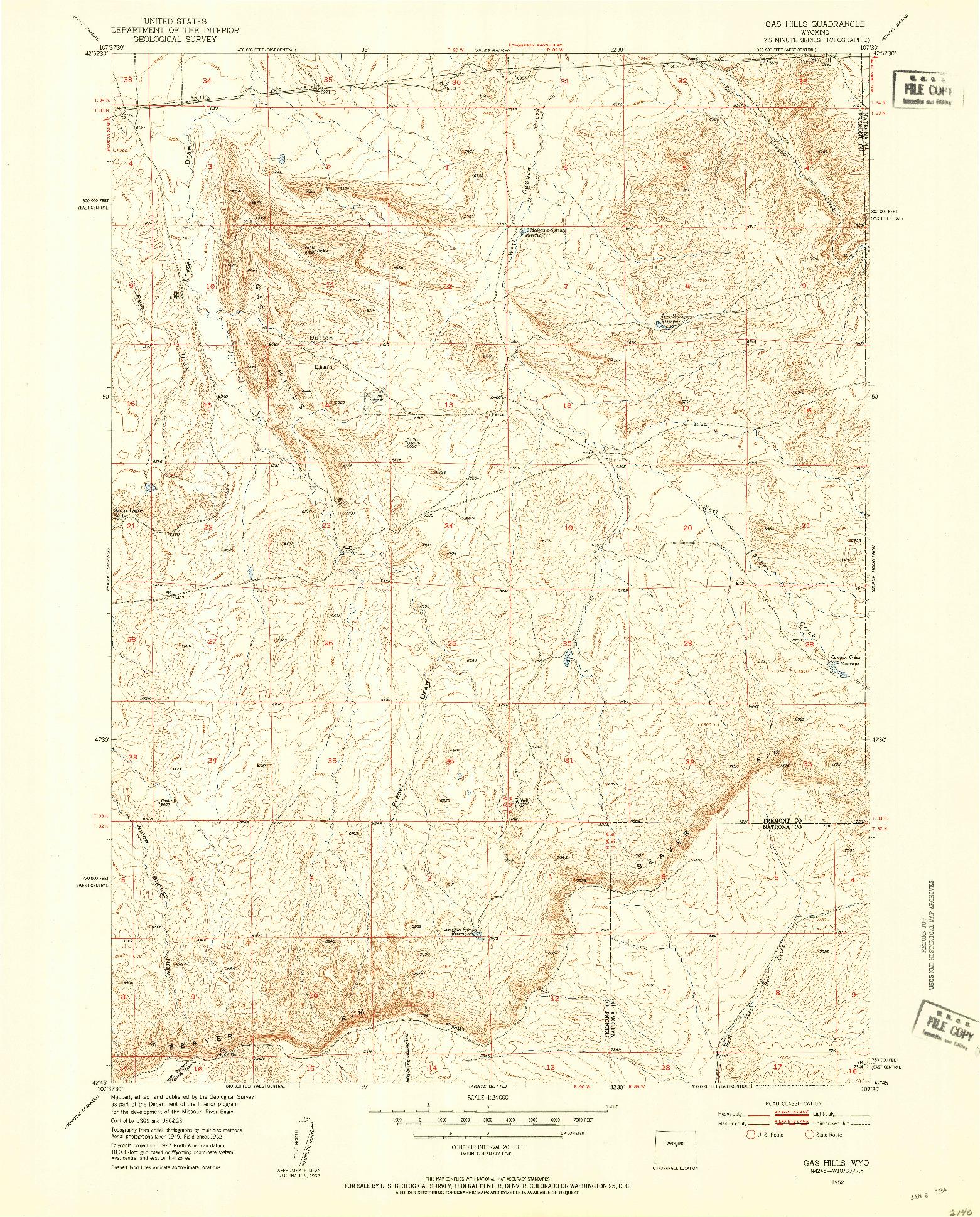 USGS 1:24000-SCALE QUADRANGLE FOR GAS HILLS, WY 1952