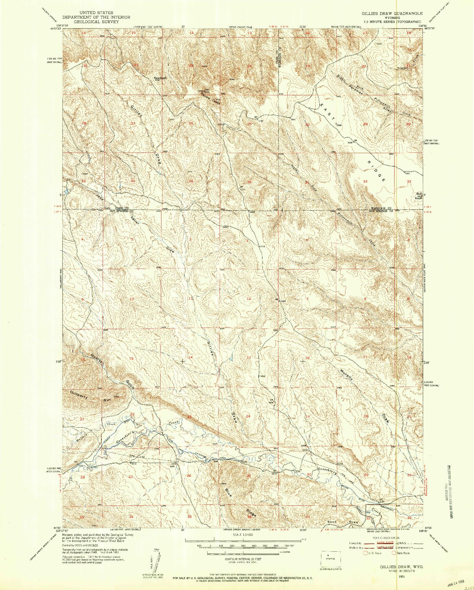 USGS 1:24000-SCALE QUADRANGLE FOR GILLIES DRAW, WY 1951
