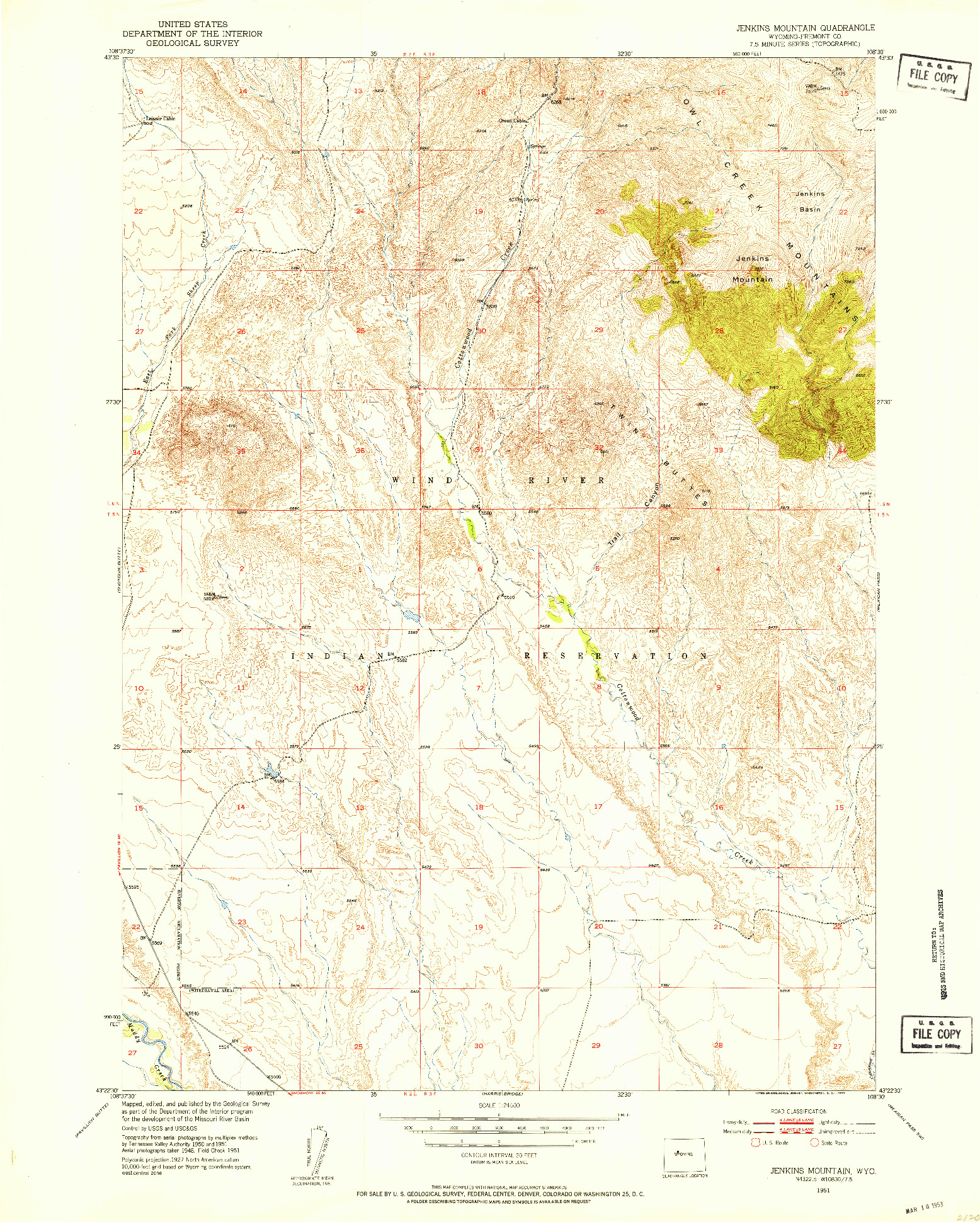 USGS 1:24000-SCALE QUADRANGLE FOR JENKINS MOUNTAIN, WY 1951