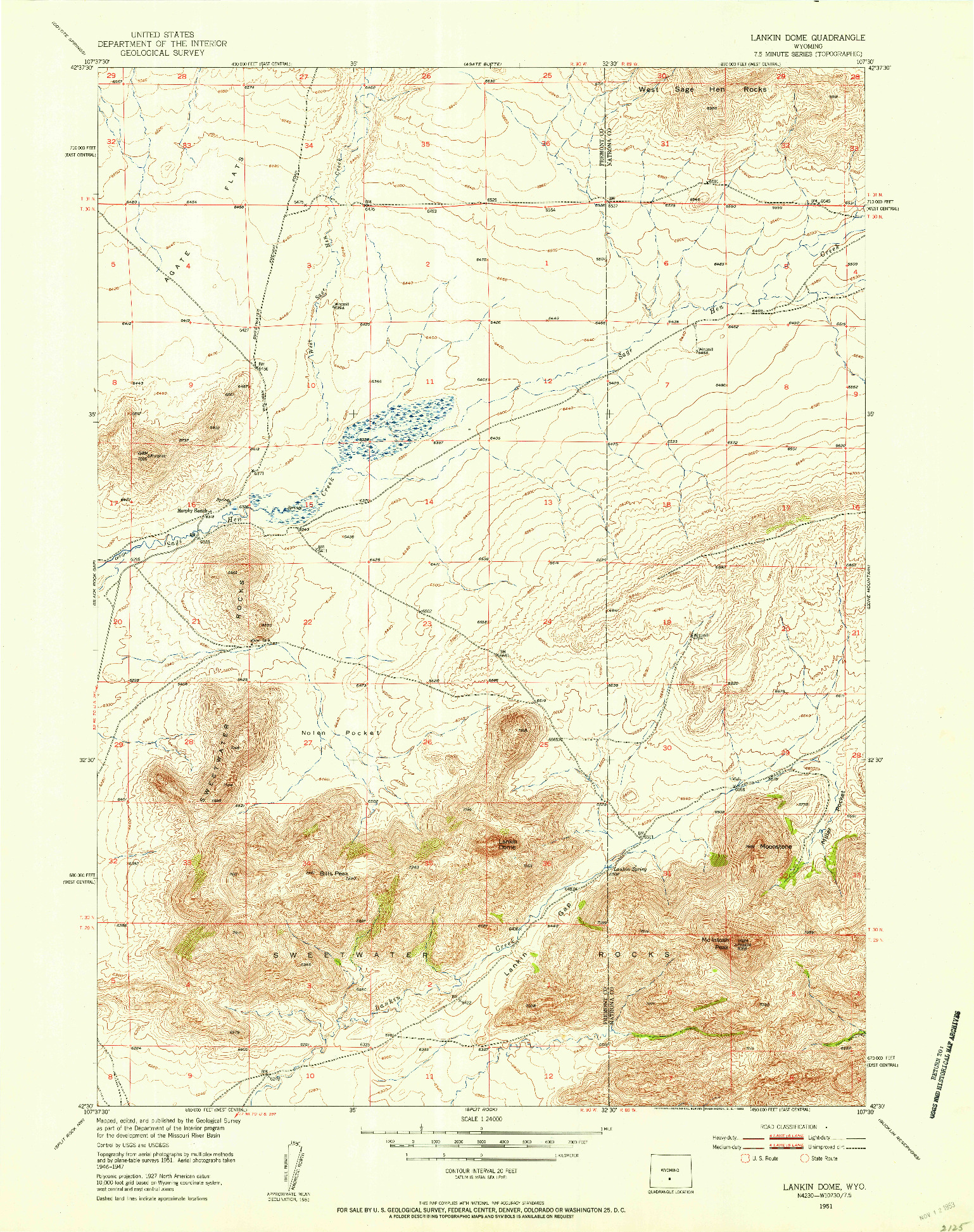 USGS 1:24000-SCALE QUADRANGLE FOR LANKIN DOME, WY 1951