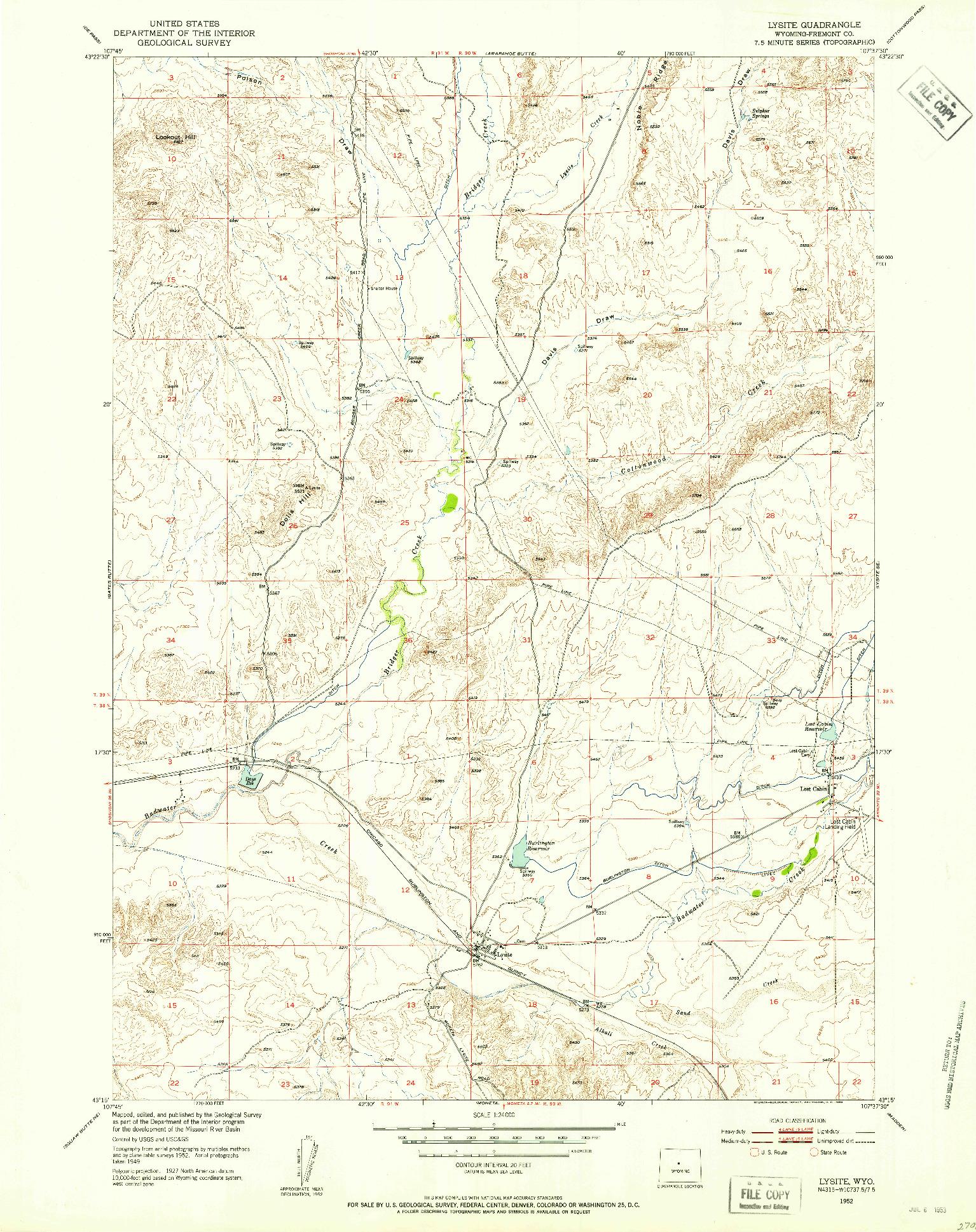 USGS 1:24000-SCALE QUADRANGLE FOR LYSITE, WY 1952