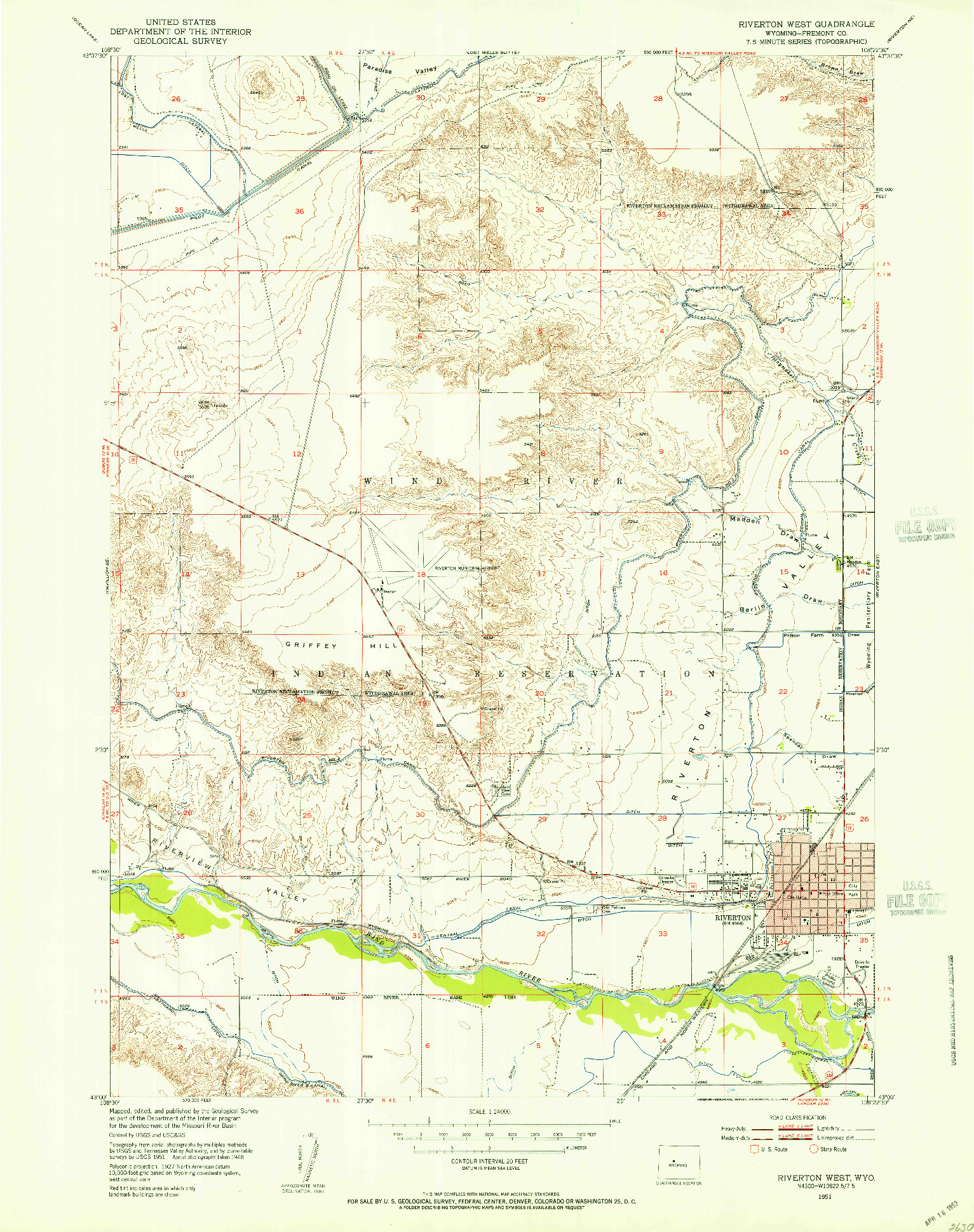 USGS 1:24000-SCALE QUADRANGLE FOR RIVERTON WEST, WY 1951