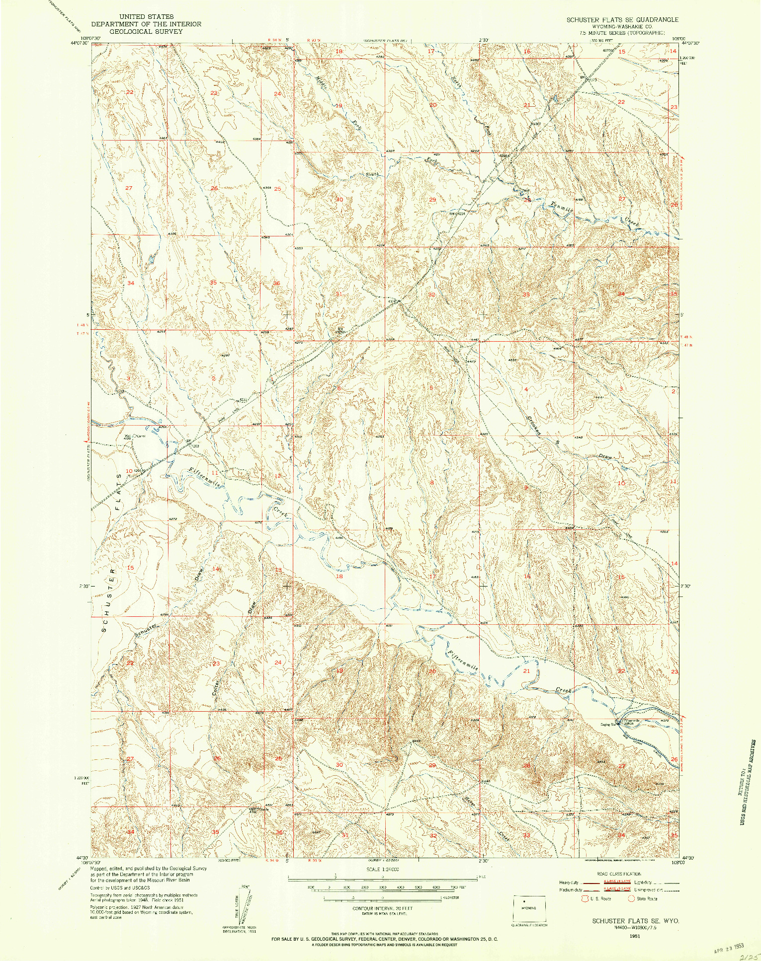 USGS 1:24000-SCALE QUADRANGLE FOR SCHUSTER FLATS SE, WY 1951