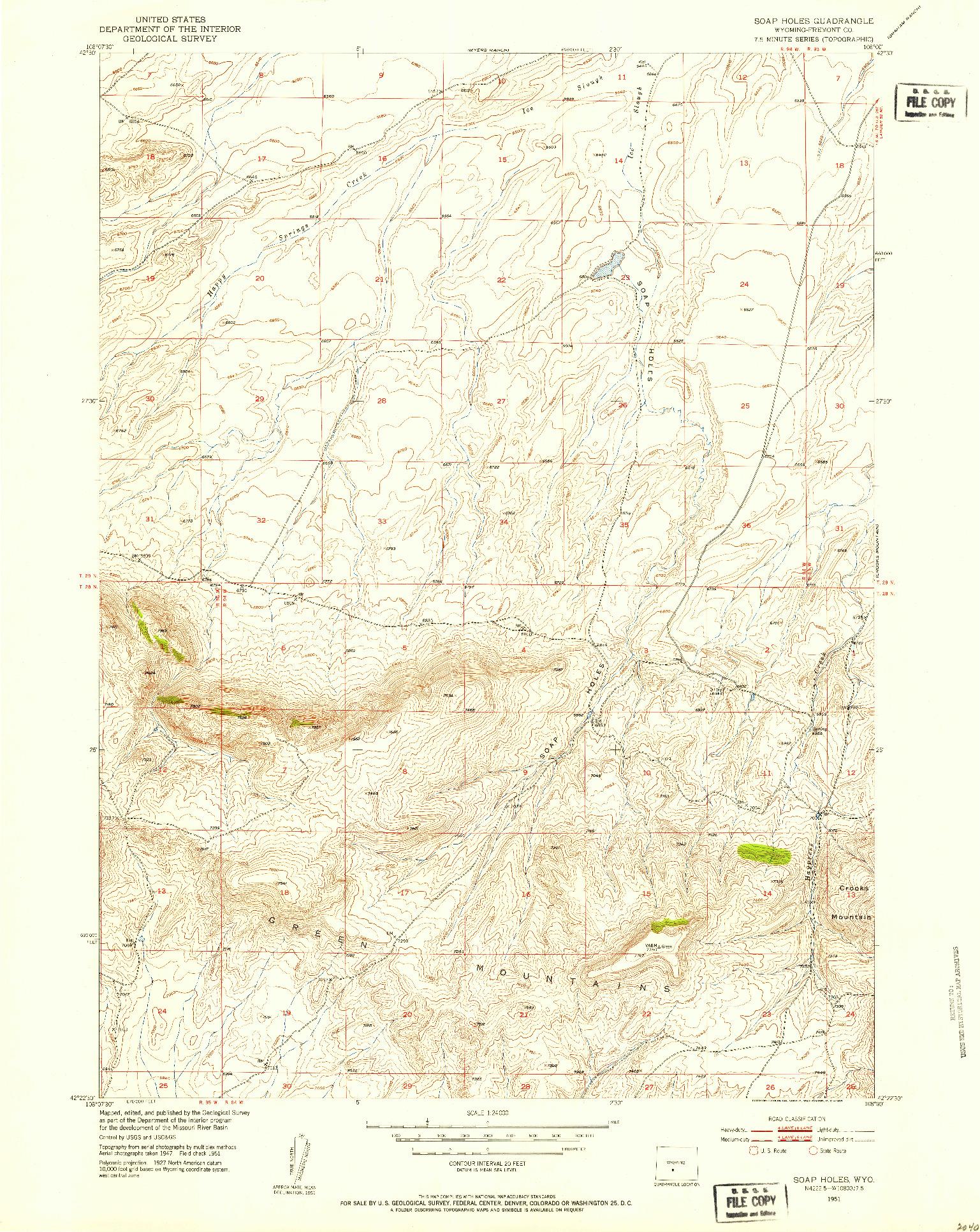 USGS 1:24000-SCALE QUADRANGLE FOR SOAP HOLES, WY 1951
