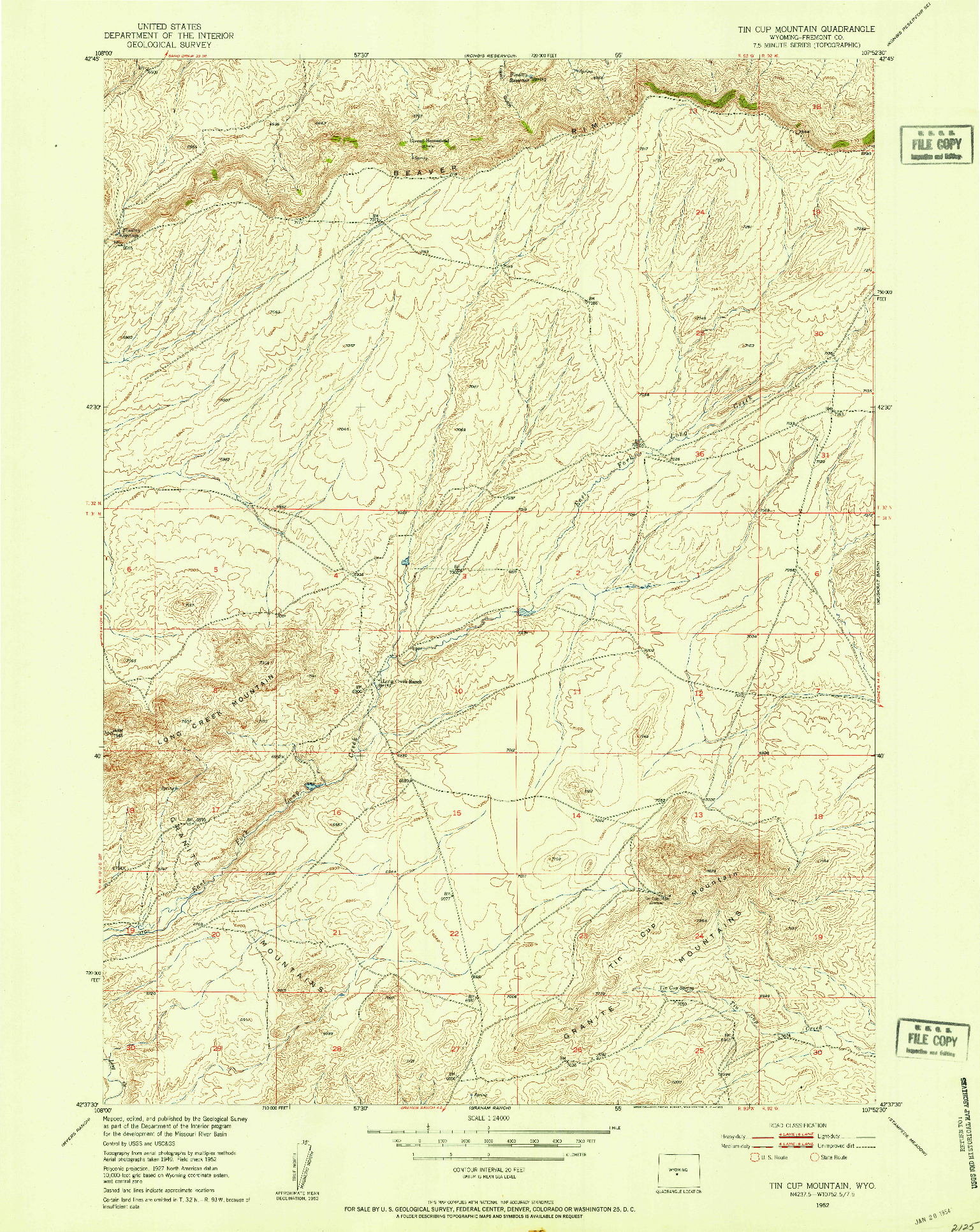 USGS 1:24000-SCALE QUADRANGLE FOR TIN CUP MOUNTAIN, WY 1952