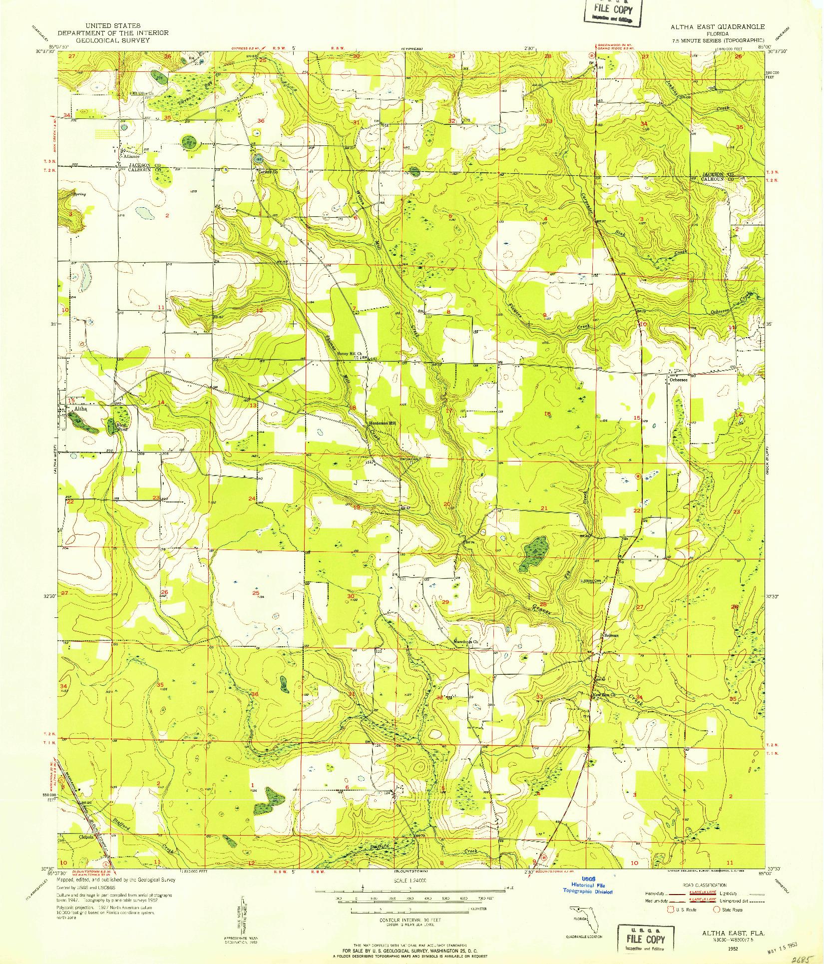 USGS 1:24000-SCALE QUADRANGLE FOR ALTHA EAST, FL 1952