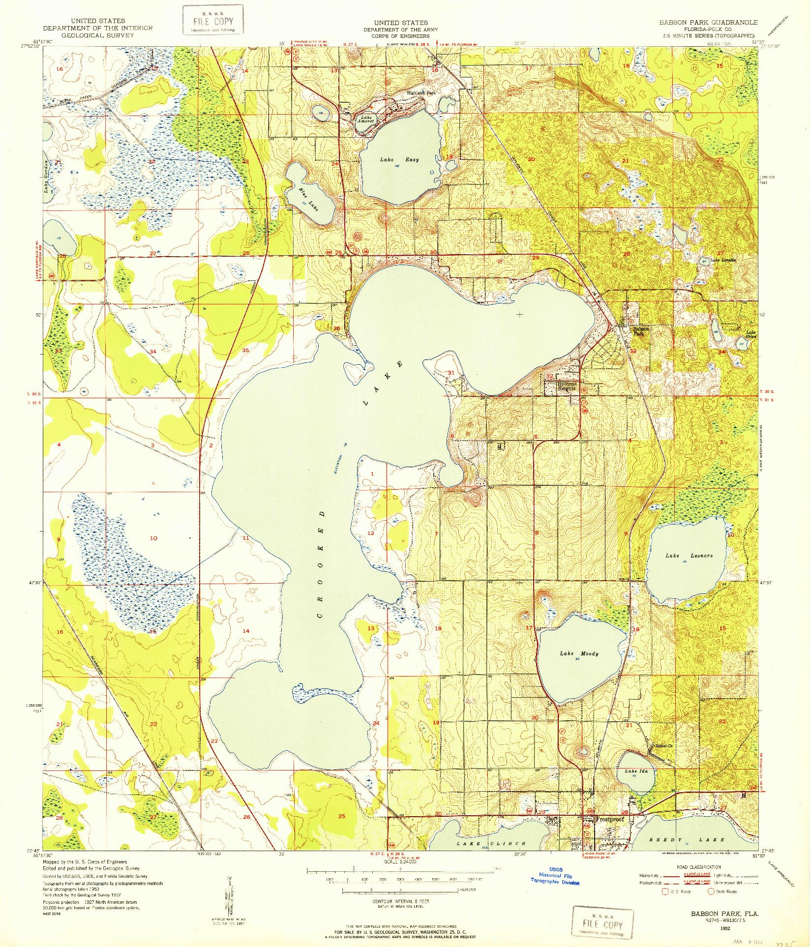 USGS 1:24000-SCALE QUADRANGLE FOR BABSON PARK, FL 1952