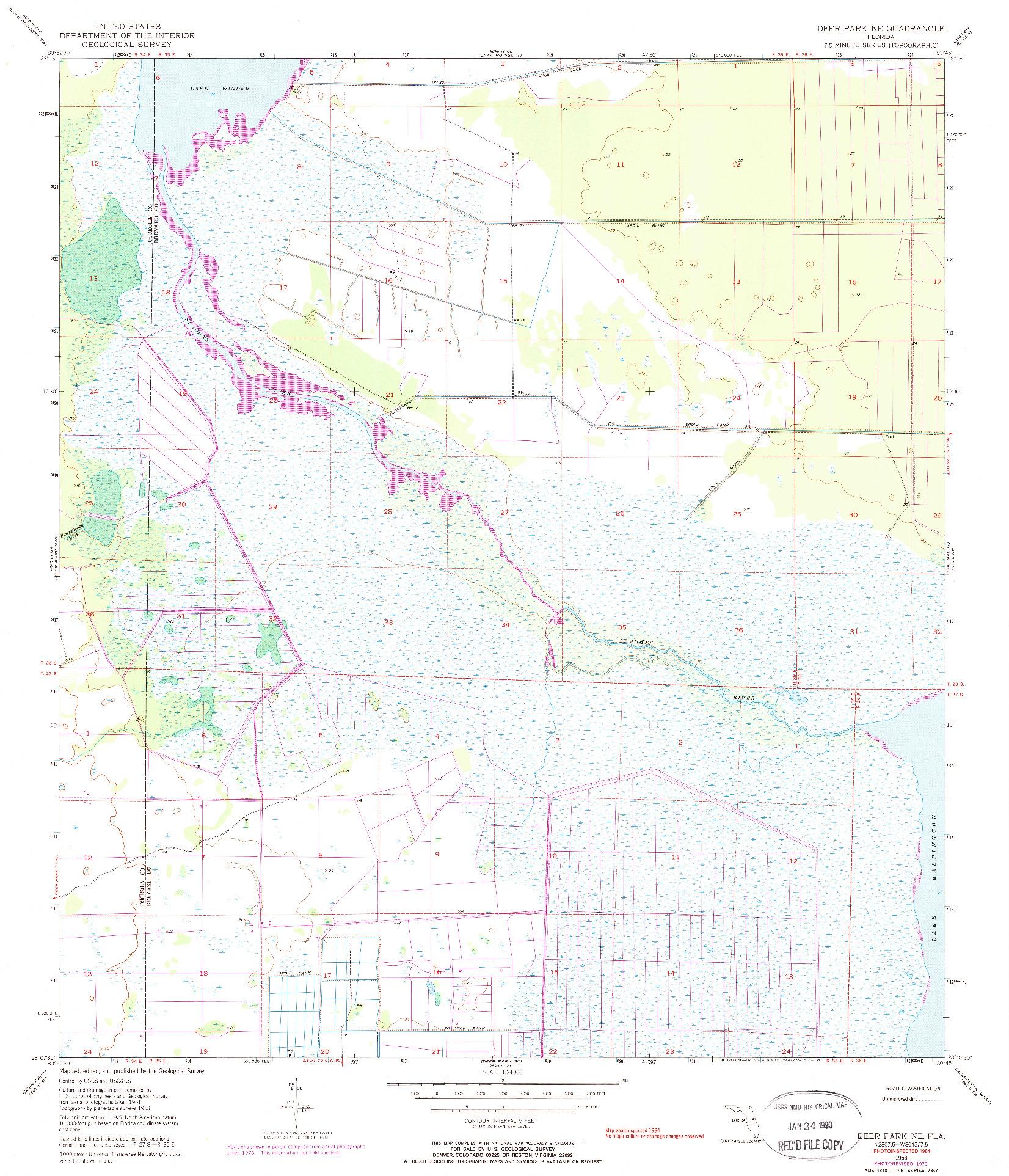 USGS 1:24000-SCALE QUADRANGLE FOR DEER PARK NE, FL 1953
