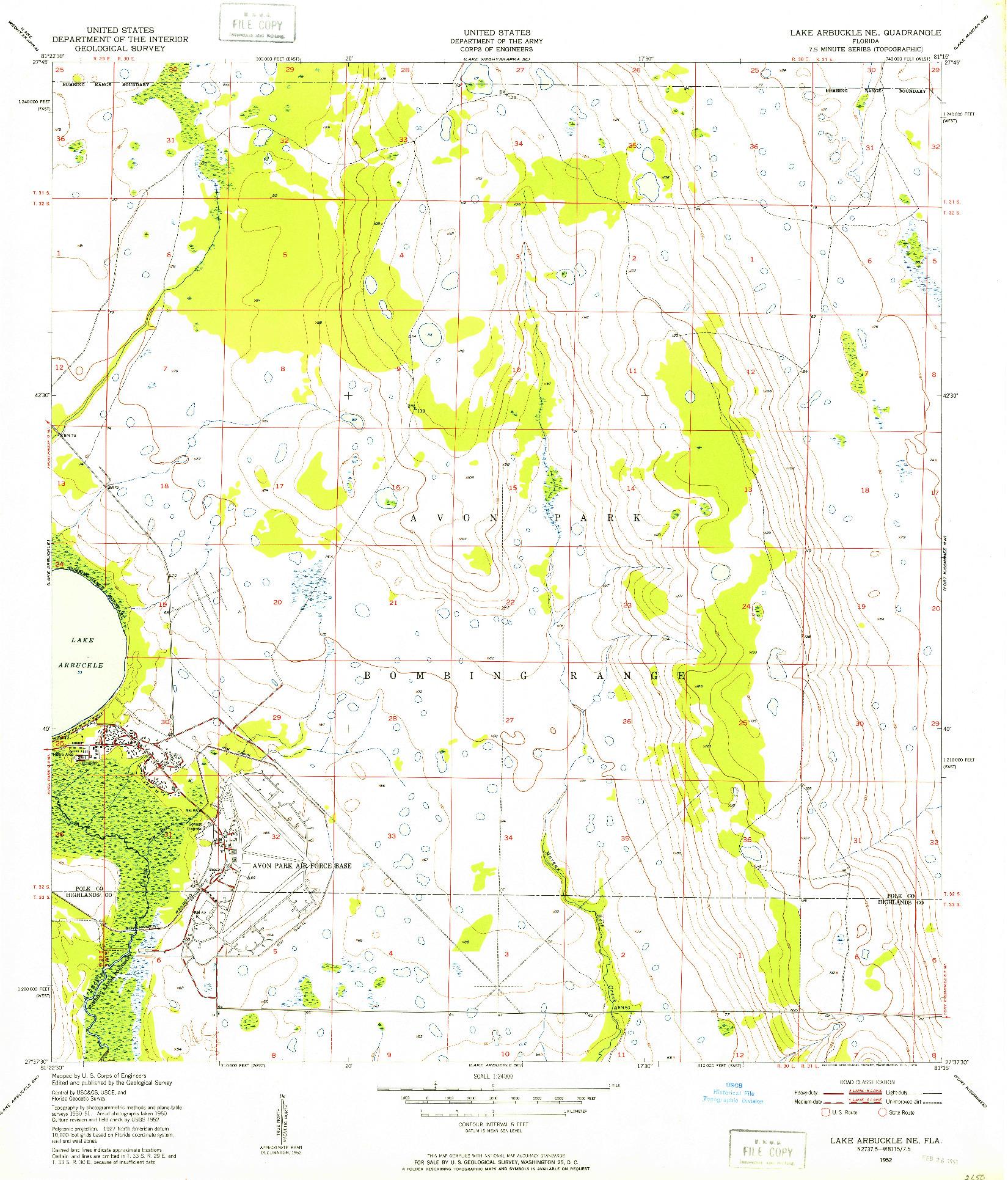 USGS 1:24000-SCALE QUADRANGLE FOR LAKE ARBUCKLE NE, FL 1952