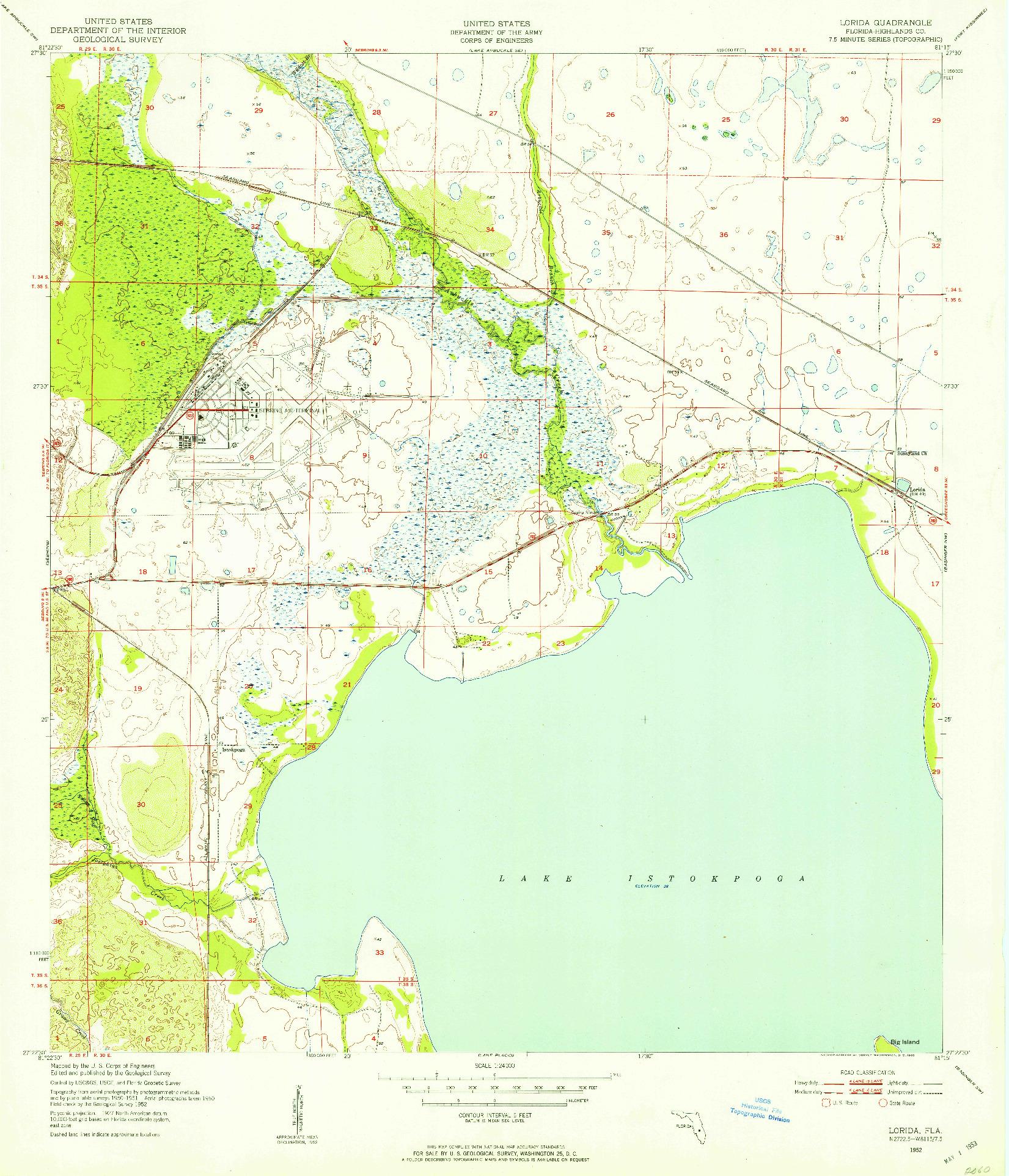 USGS 1:24000-SCALE QUADRANGLE FOR LORIDA, FL 1952