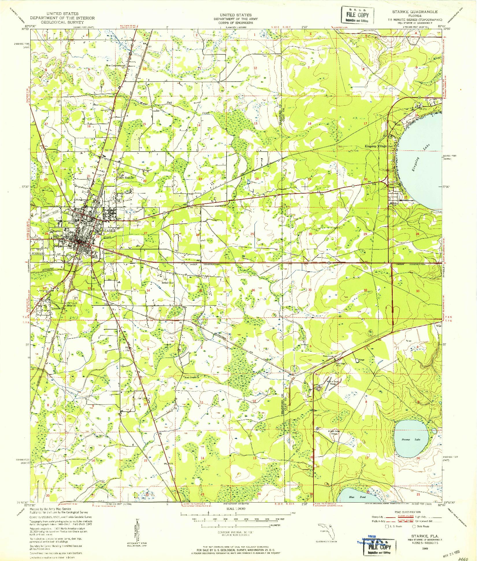 USGS 1:24000-SCALE QUADRANGLE FOR STARKE, FL 1949
