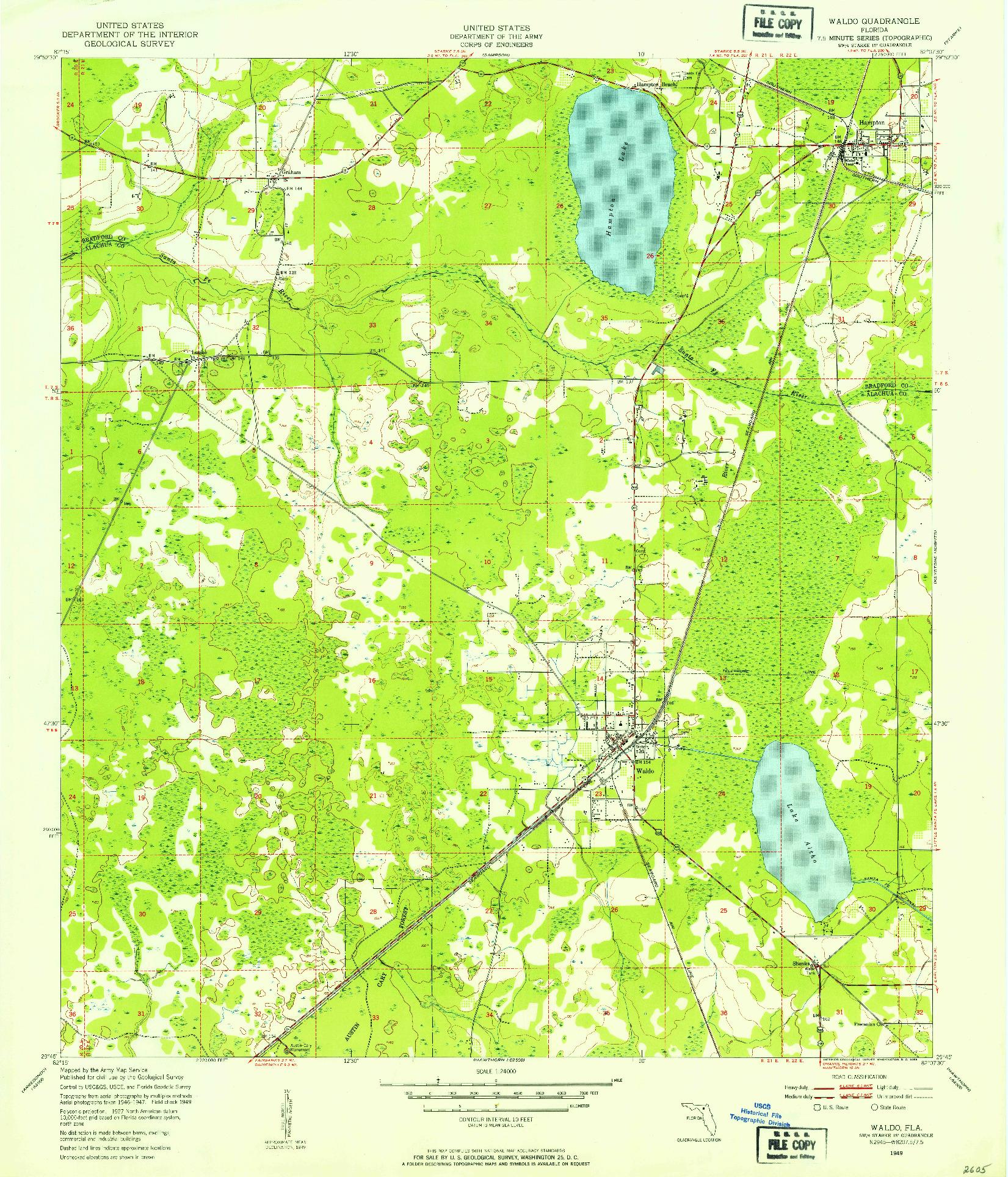 USGS 1:24000-SCALE QUADRANGLE FOR WALDO, FL 1949