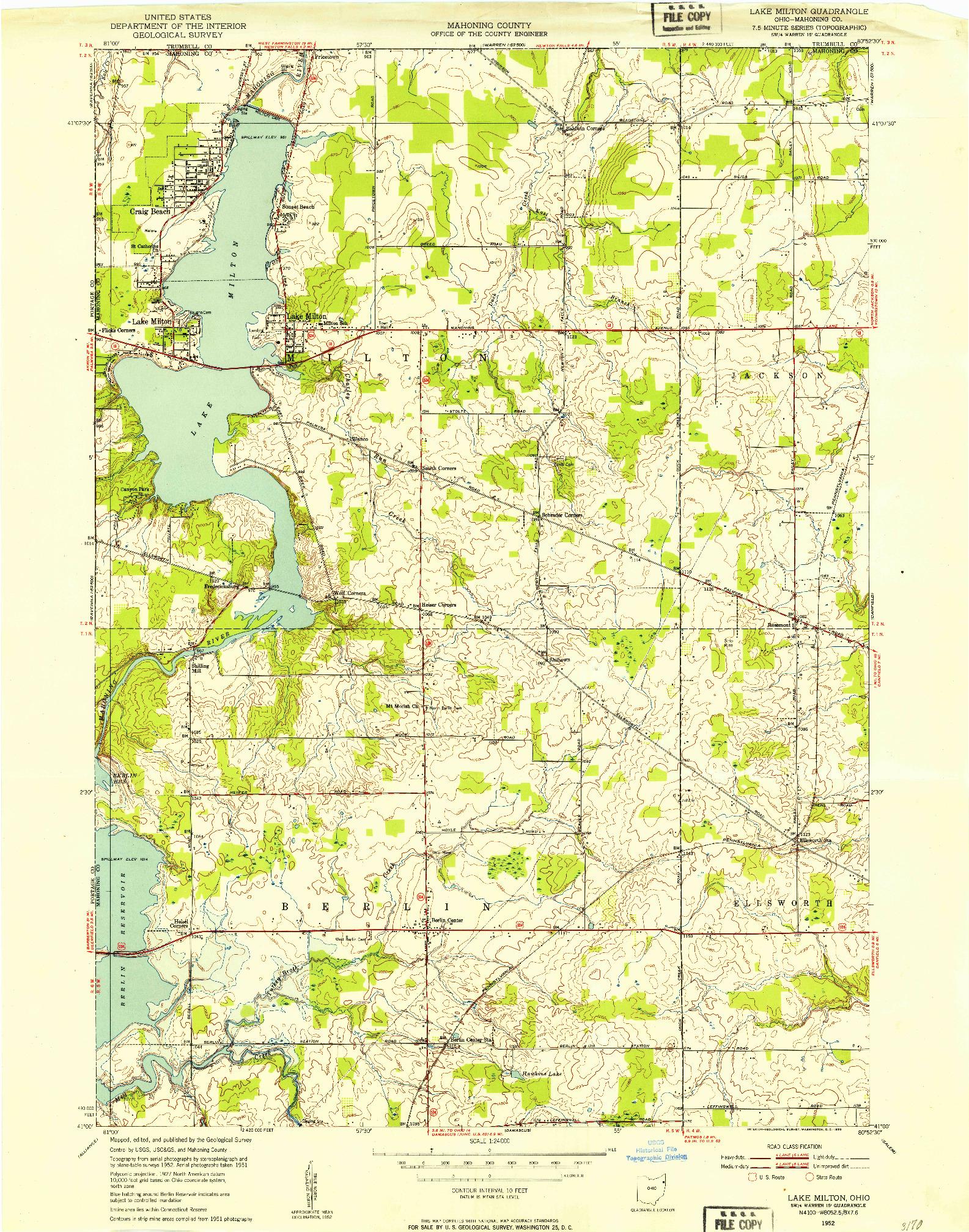 USGS 1:24000-SCALE QUADRANGLE FOR LAKE MILTON, OH 1952