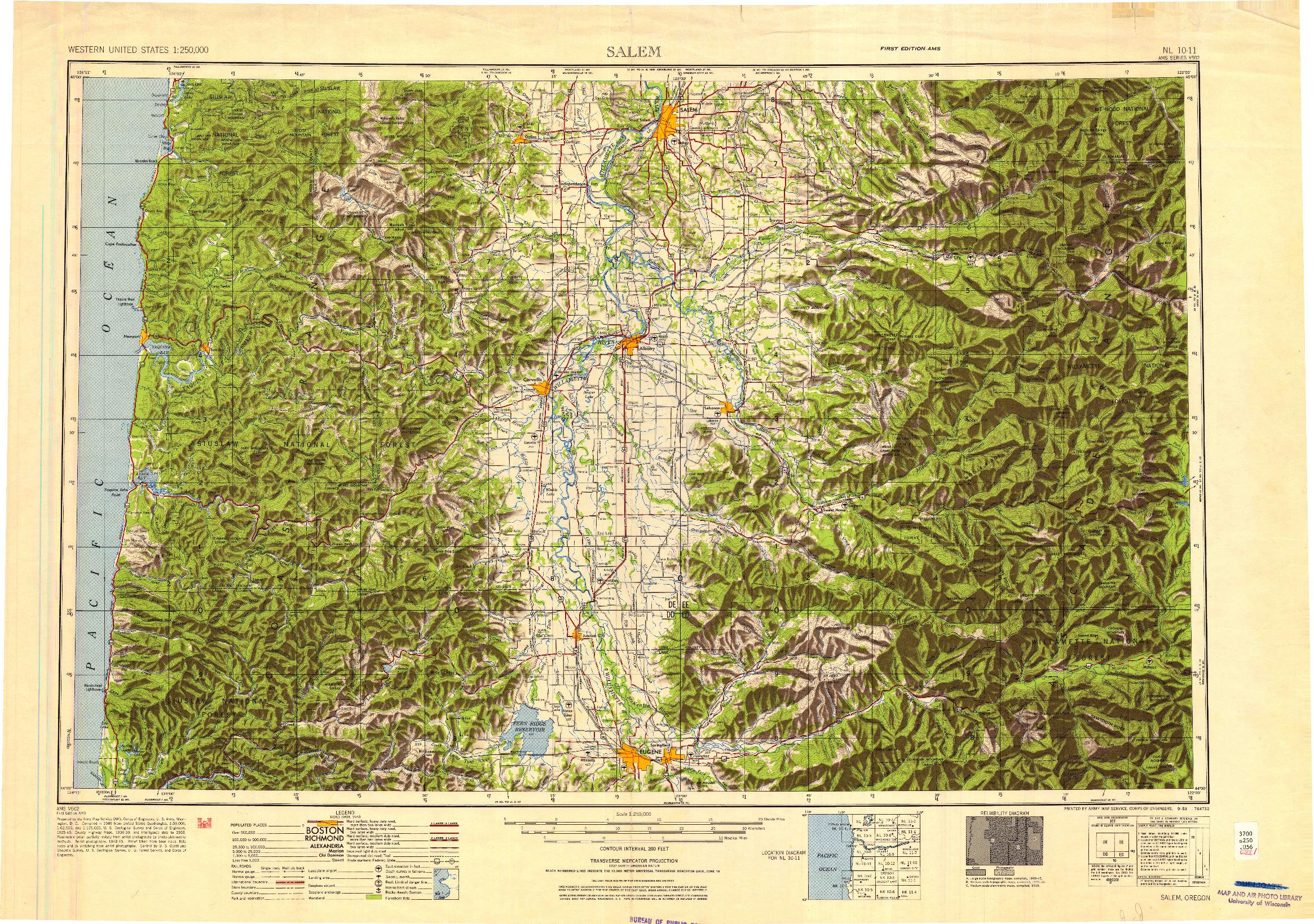 USGS 1:250000-SCALE QUADRANGLE FOR SALEM, OR 1953