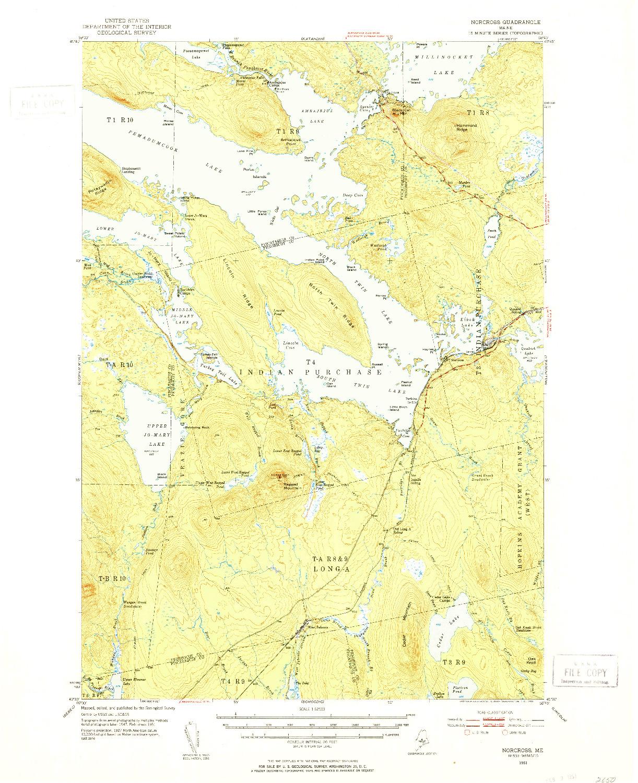USGS 1:62500-SCALE QUADRANGLE FOR NORCROSS, ME 1951