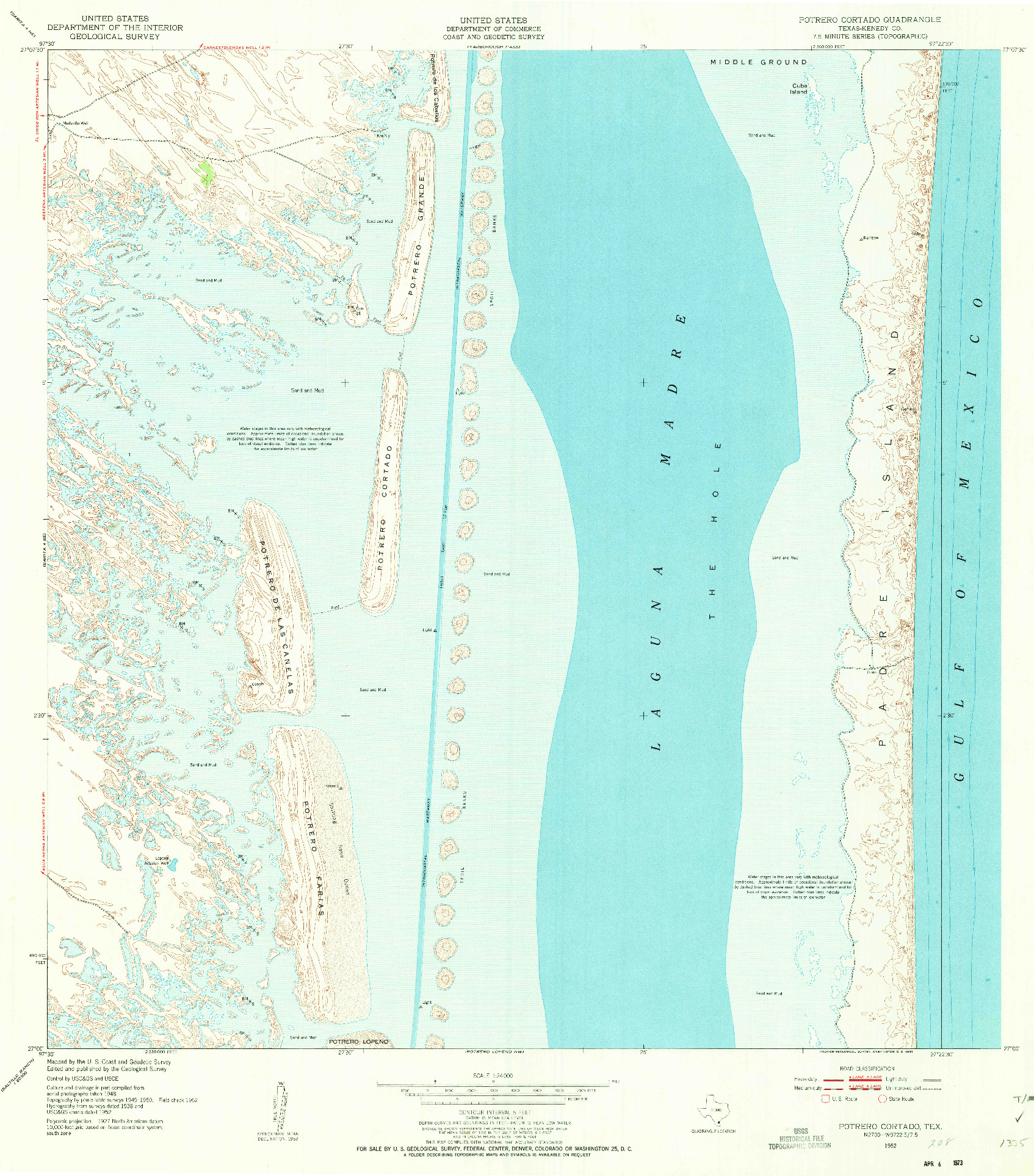 USGS 1:24000-SCALE QUADRANGLE FOR POTRERO CORTADO, TX 1952
