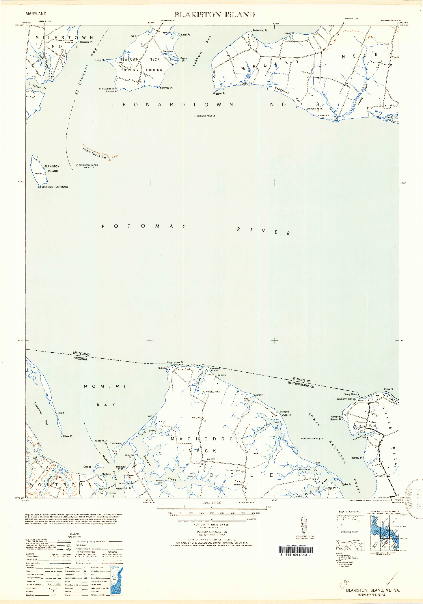 USGS 1:24000-SCALE QUADRANGLE FOR BLAKISTON ISLAND, MD 1953