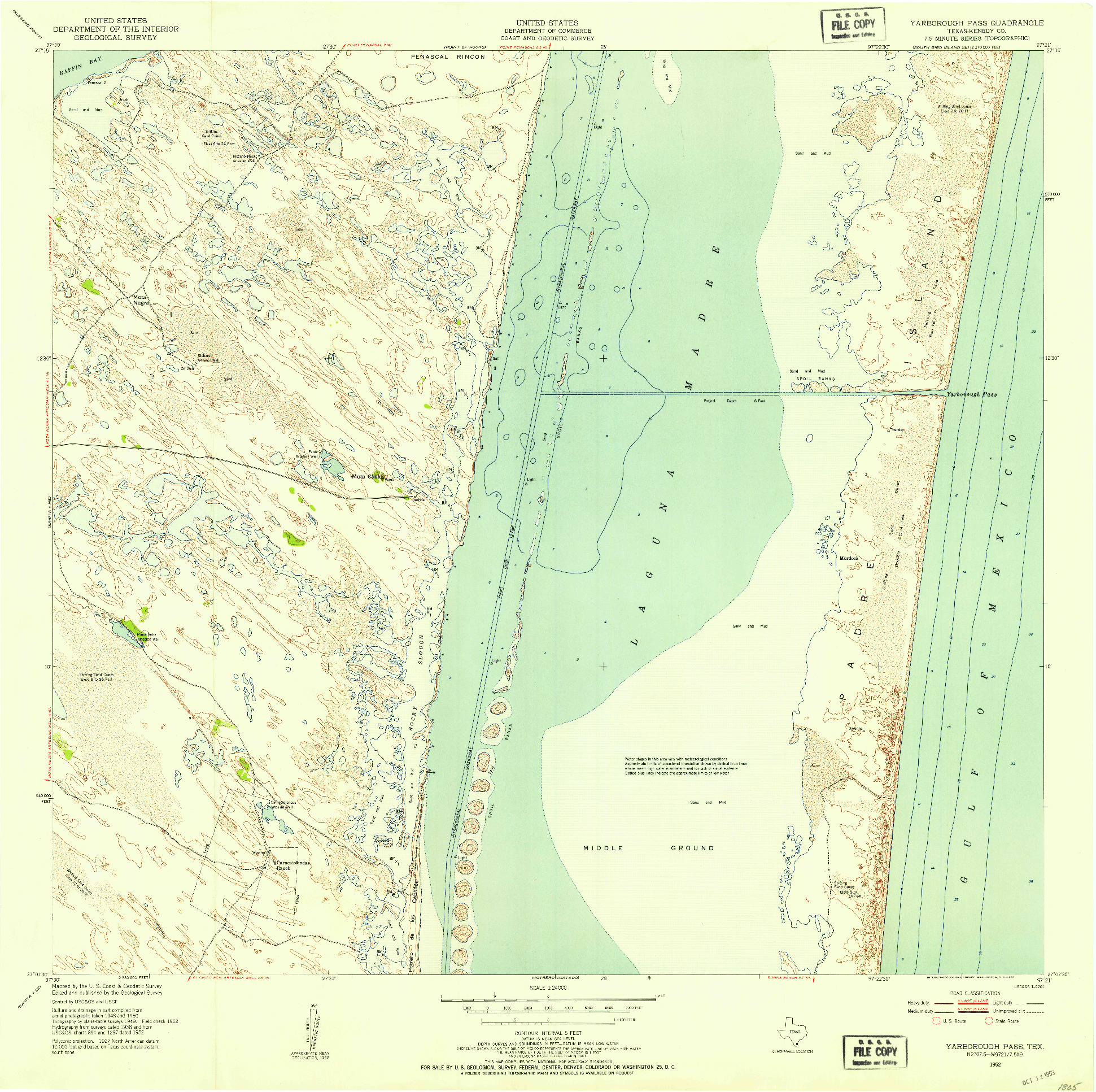 USGS 1:24000-SCALE QUADRANGLE FOR YARBOROUGH PASS, TX 1952