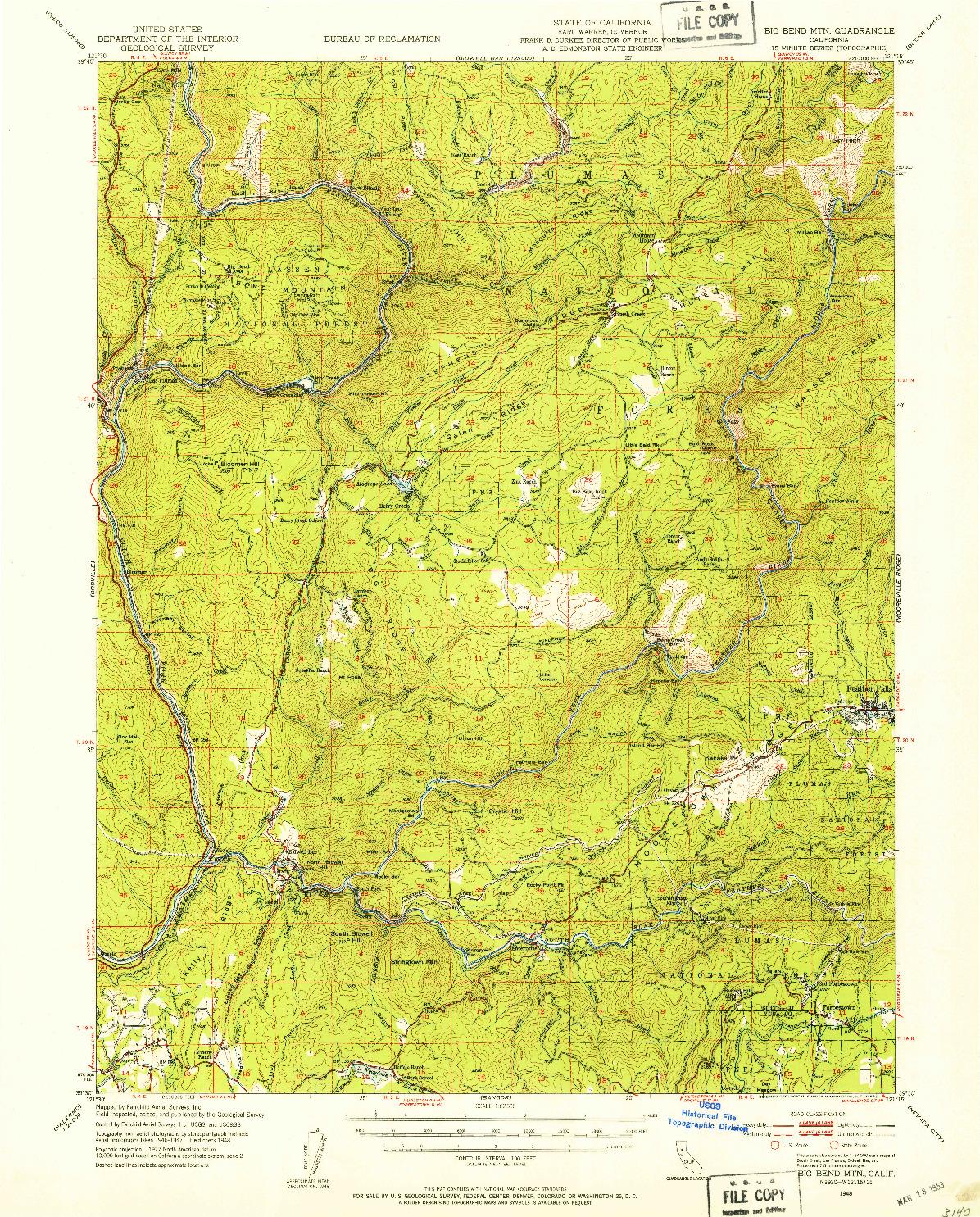 USGS 1:62500-SCALE QUADRANGLE FOR BIG BEND MTN, CA 1948