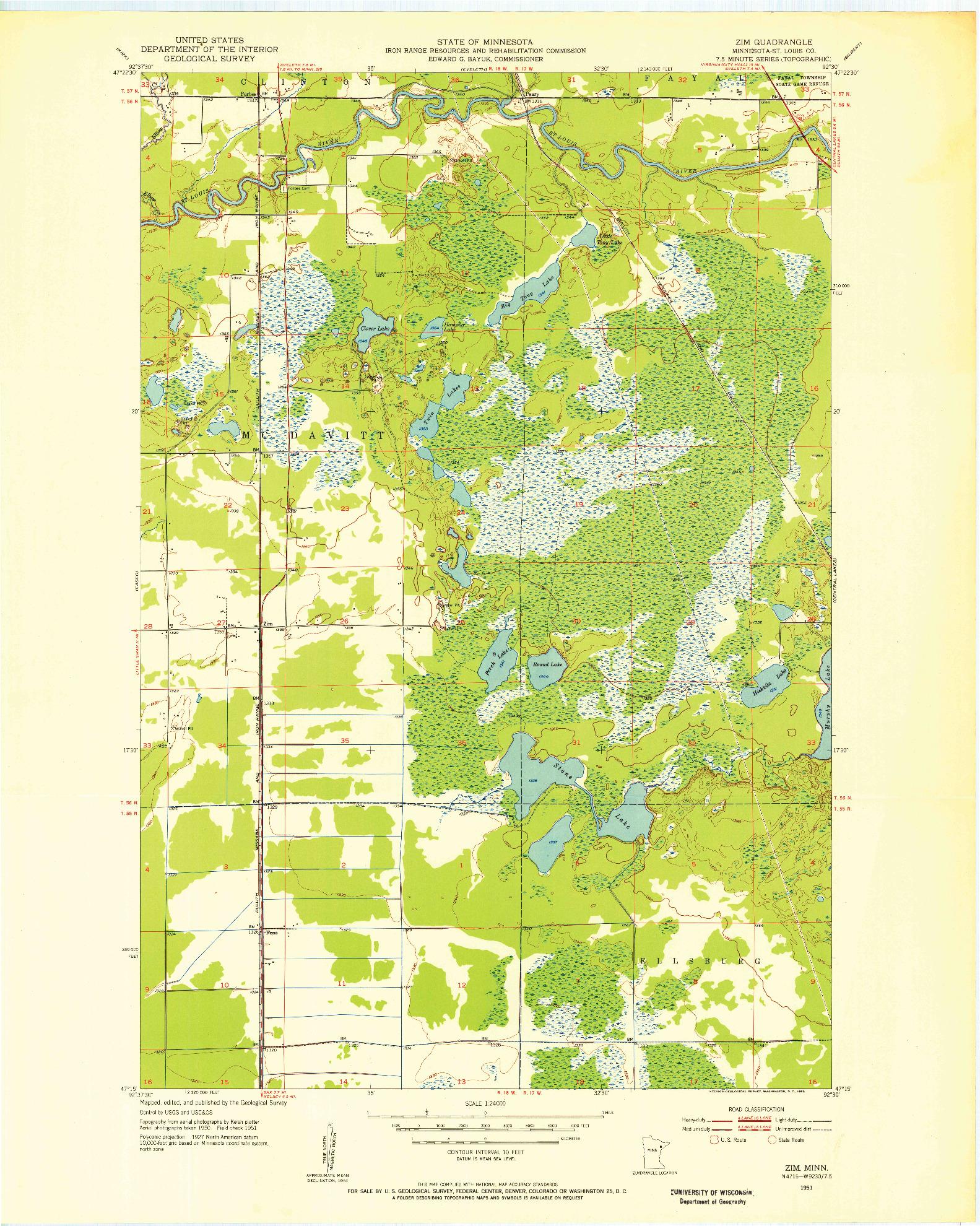 USGS 1:24000-SCALE QUADRANGLE FOR ZIM, MN 1951