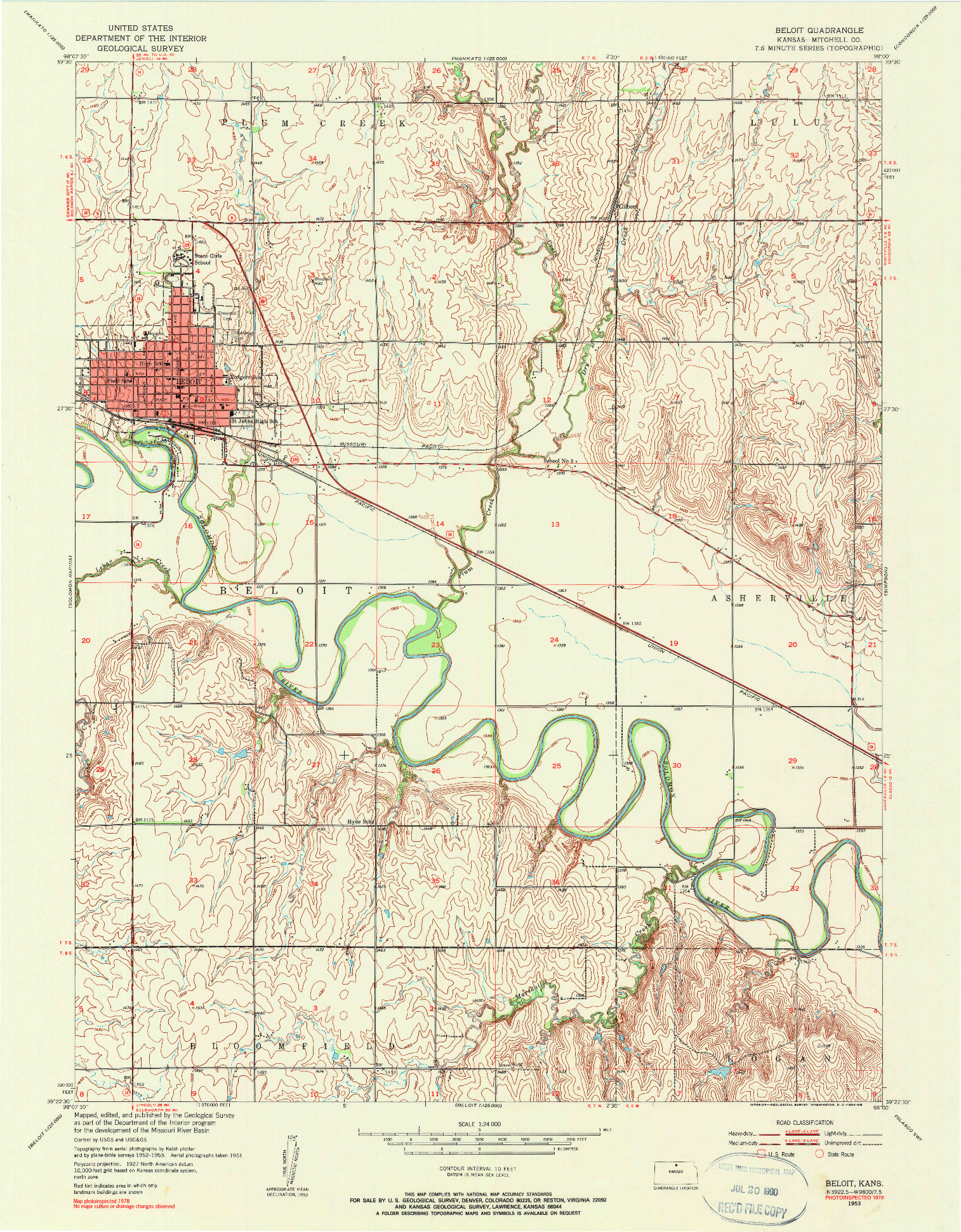 USGS 1:24000-SCALE QUADRANGLE FOR BELOIT, KS 1953
