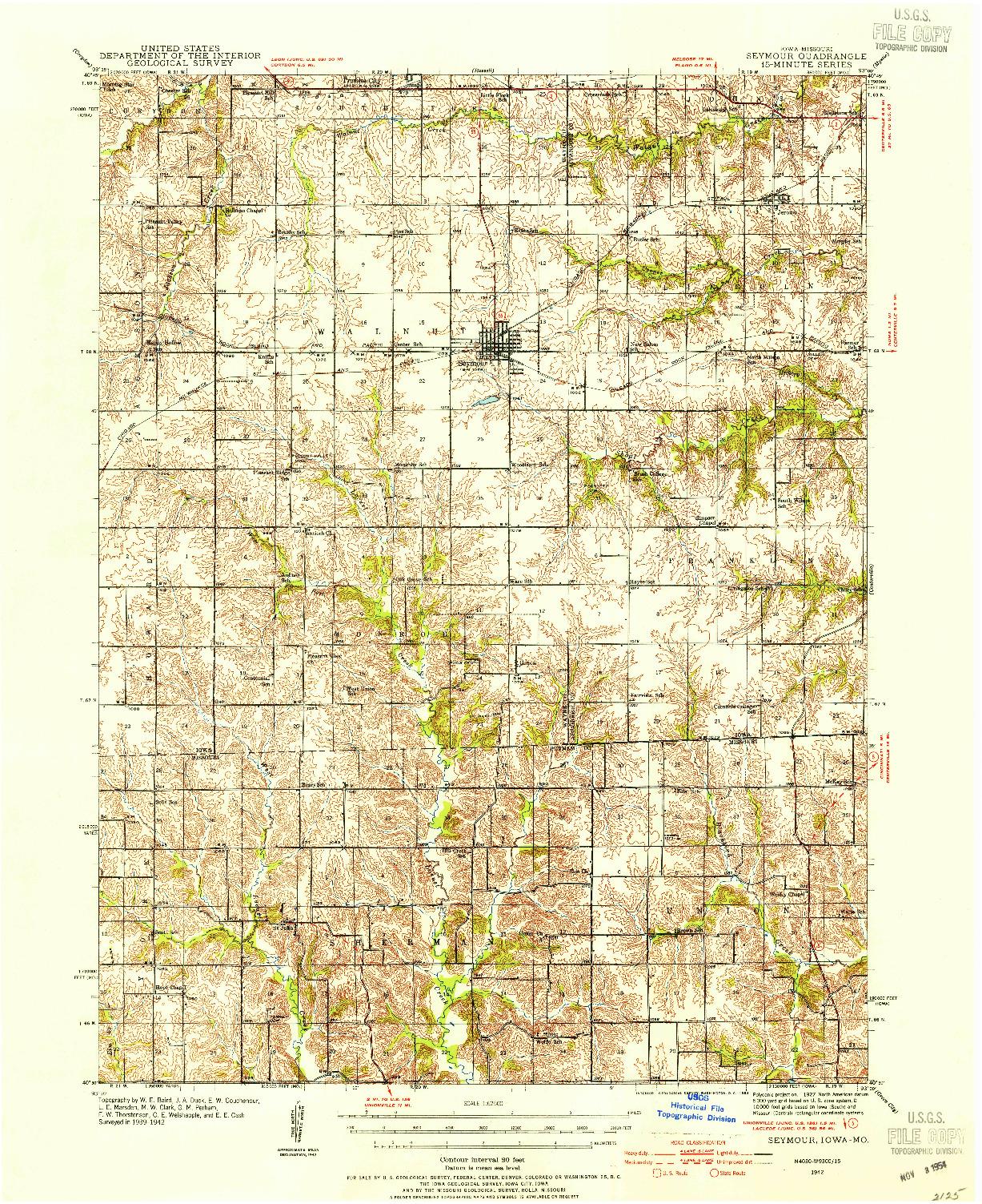 USGS 1:62500-SCALE QUADRANGLE FOR SEYMOUR, IA 1942