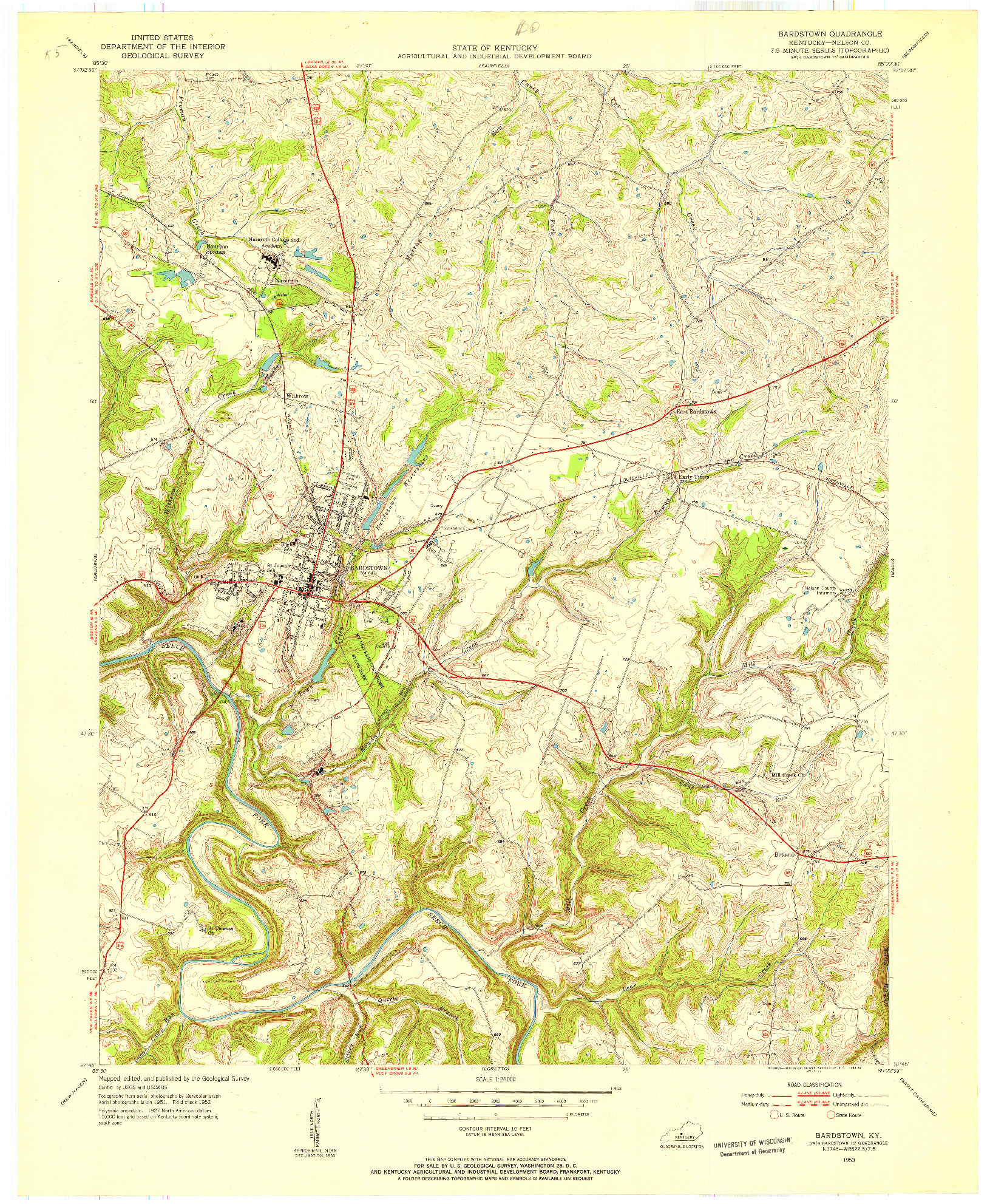 USGS 1:24000-SCALE QUADRANGLE FOR BARDSTOWN, KY 1953