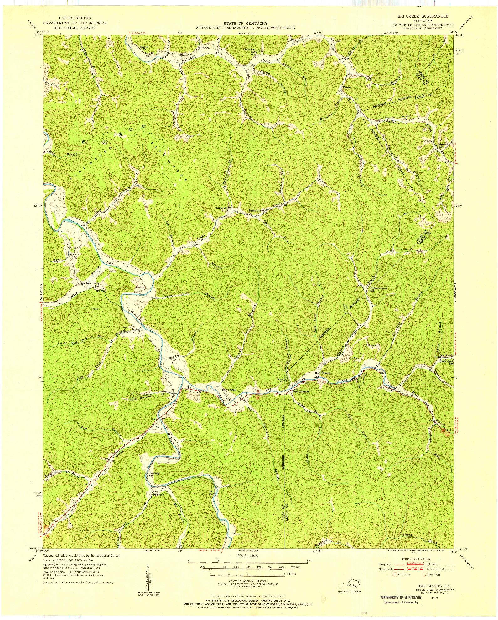 USGS 1:24000-SCALE QUADRANGLE FOR BIG CREEK, KY 1953