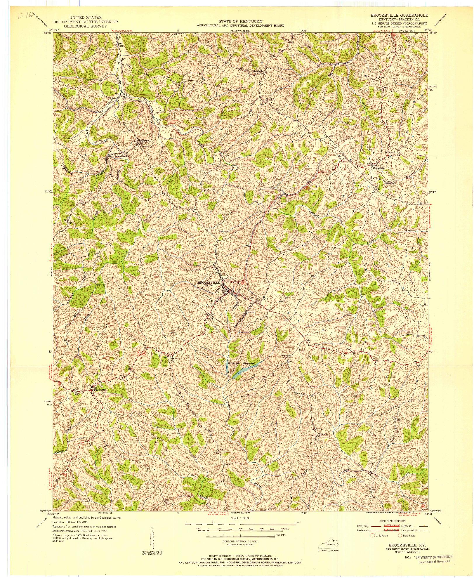 USGS 1:24000-SCALE QUADRANGLE FOR BROOKSVILLE, KY 1952