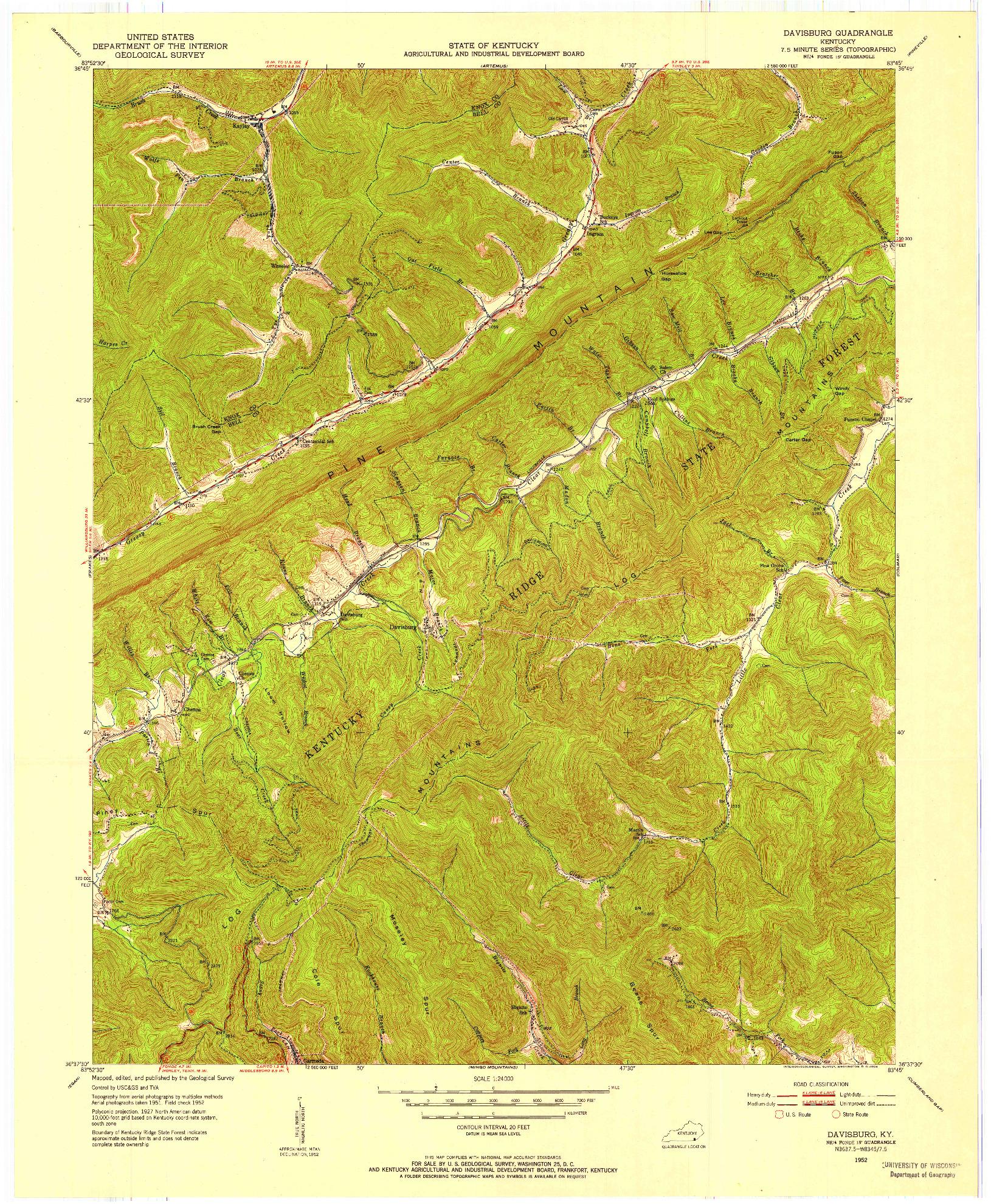 USGS 1:24000-SCALE QUADRANGLE FOR DAVISBURG, KY 1952