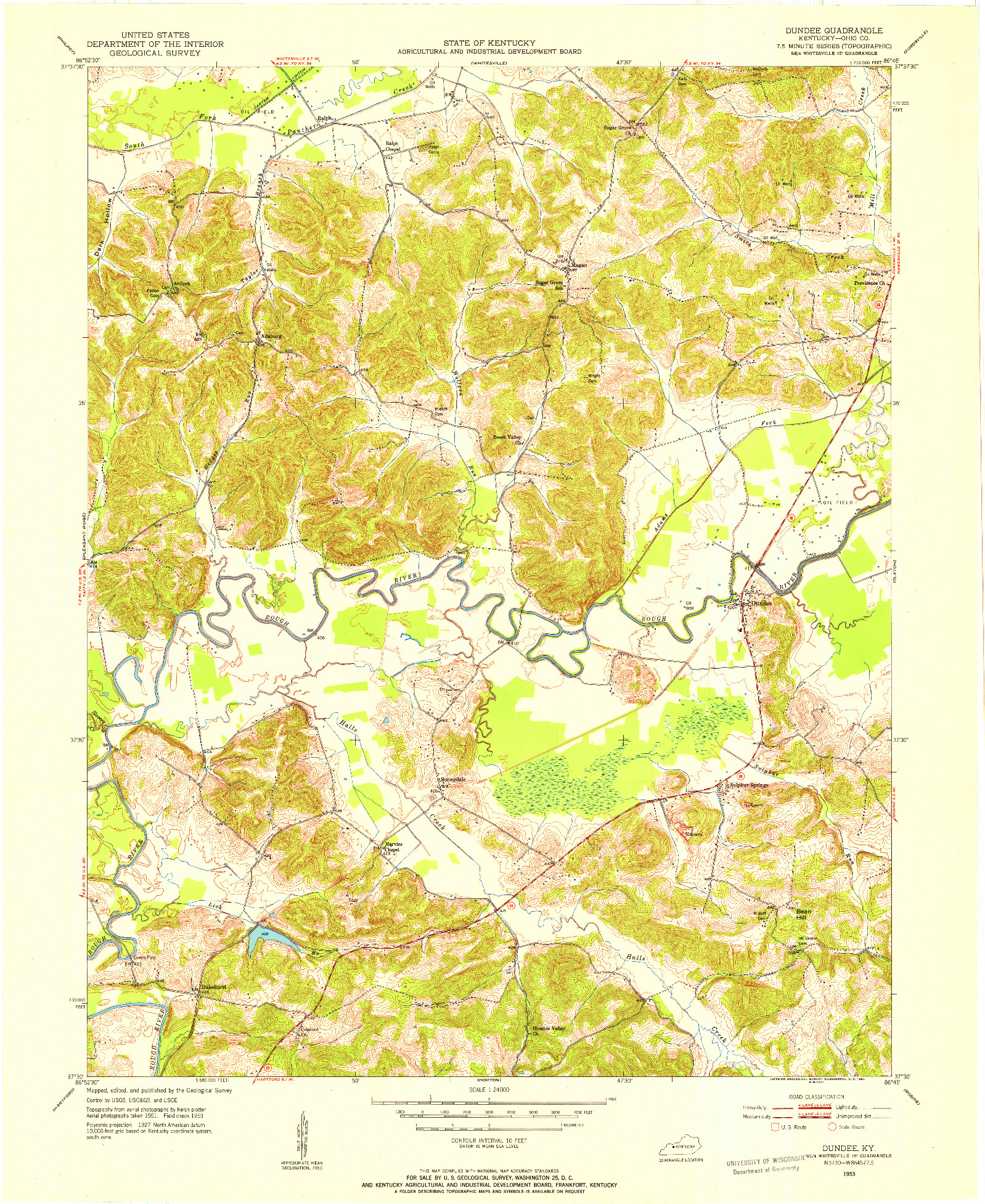 USGS 1:24000-SCALE QUADRANGLE FOR DUNDEE, KY 1953