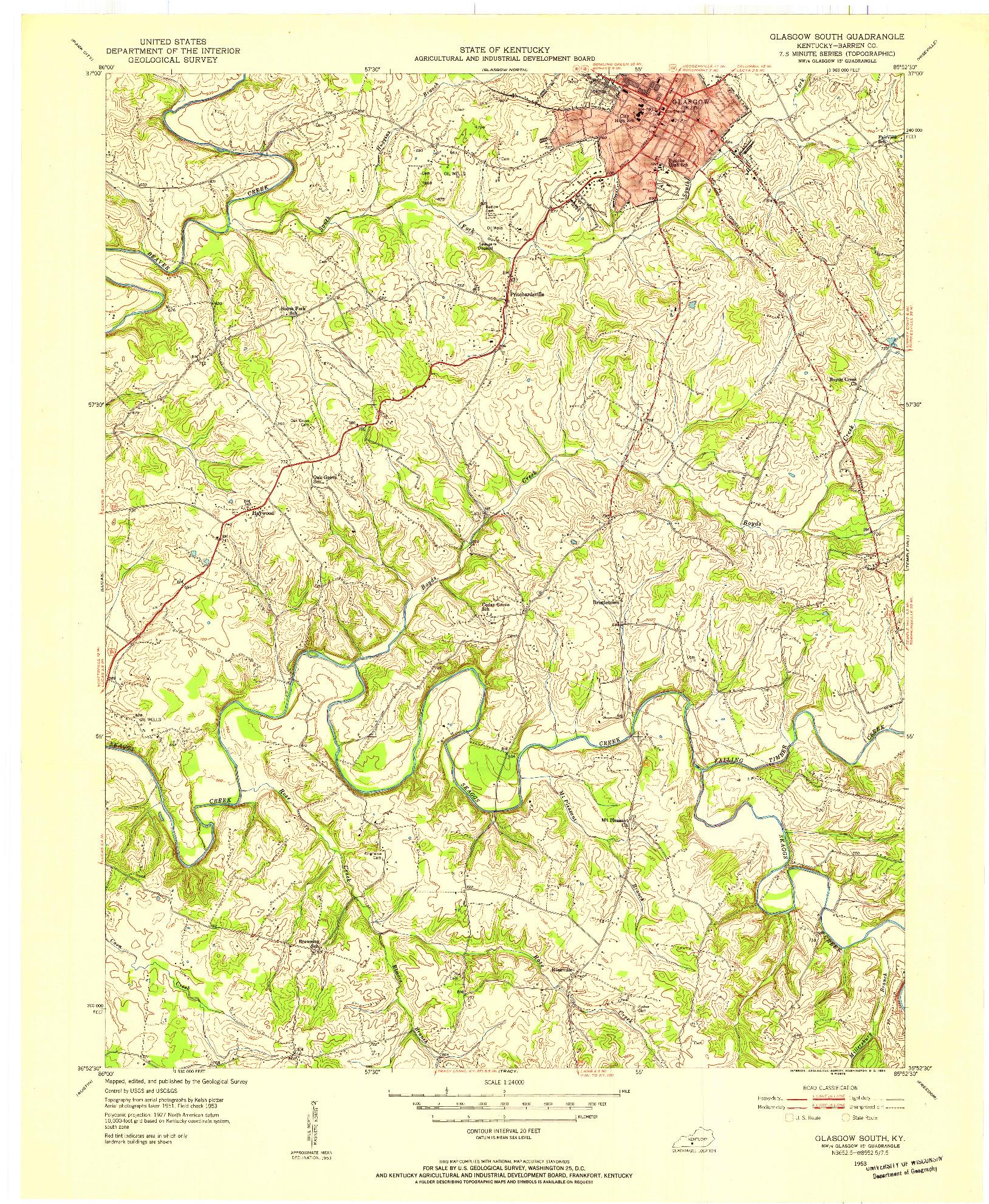 USGS 1:24000-SCALE QUADRANGLE FOR GLASGOW SOUTH, KY 1953