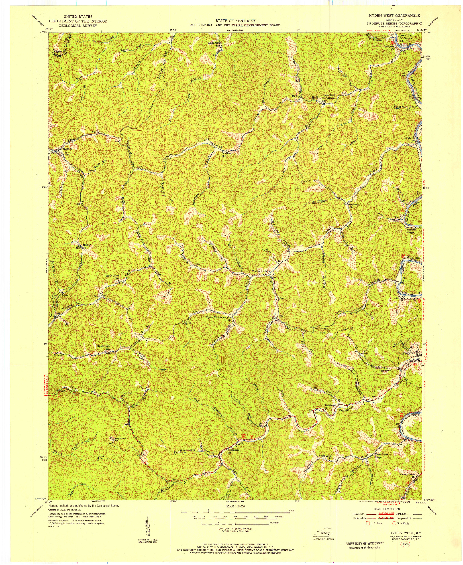 USGS 1:24000-SCALE QUADRANGLE FOR HYDEN WEST, KY 1953