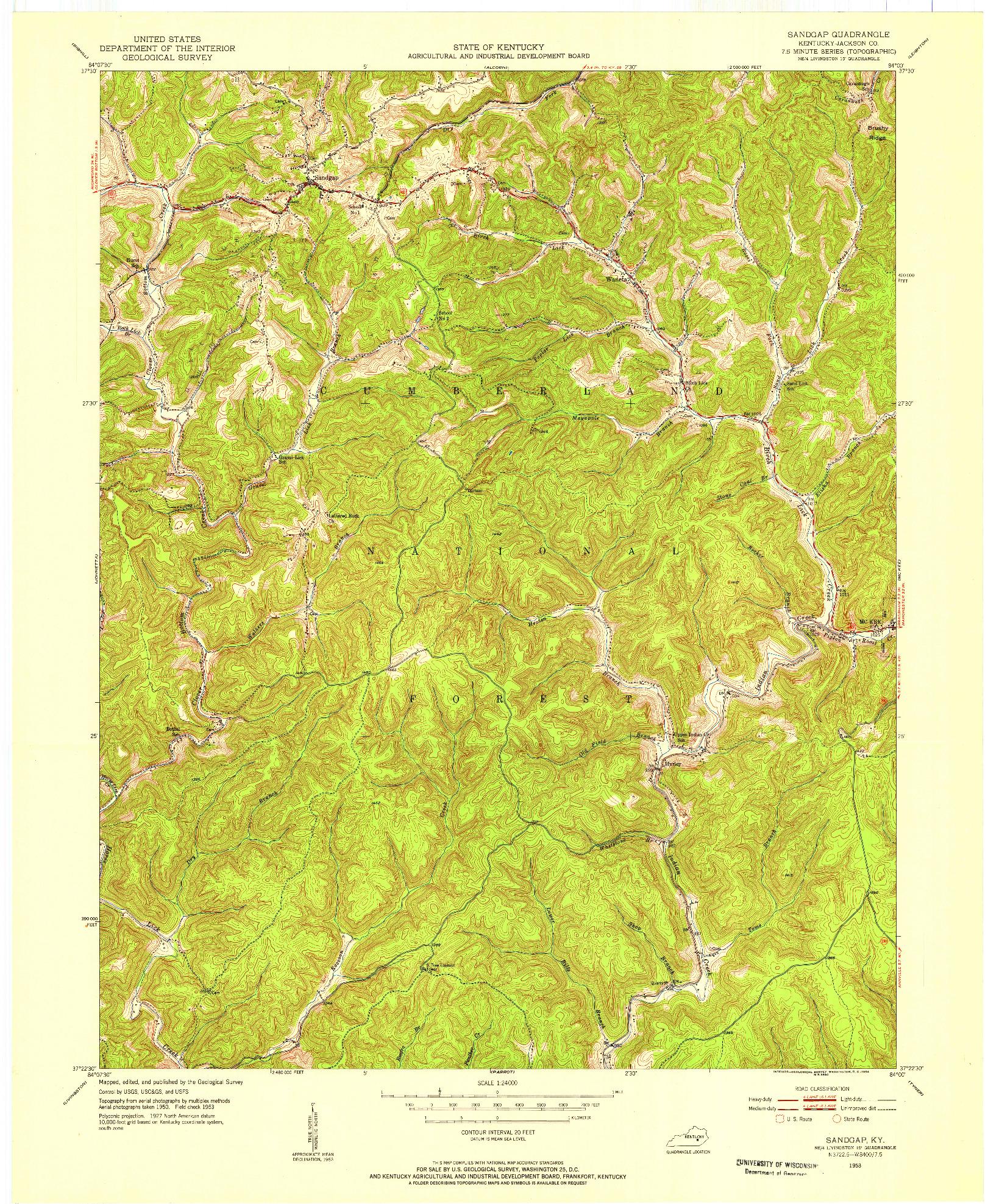 USGS 1:24000-SCALE QUADRANGLE FOR SANDGAP, KY 1953