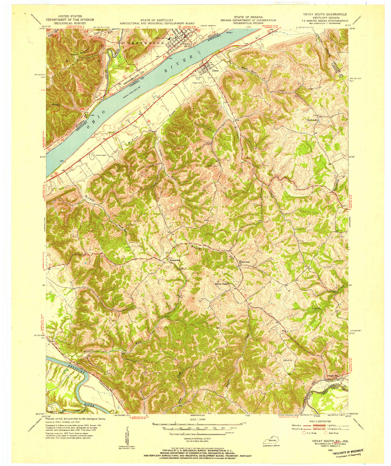 USGS 1:24000-SCALE QUADRANGLE FOR VEVAY SOUTH, KY 1952