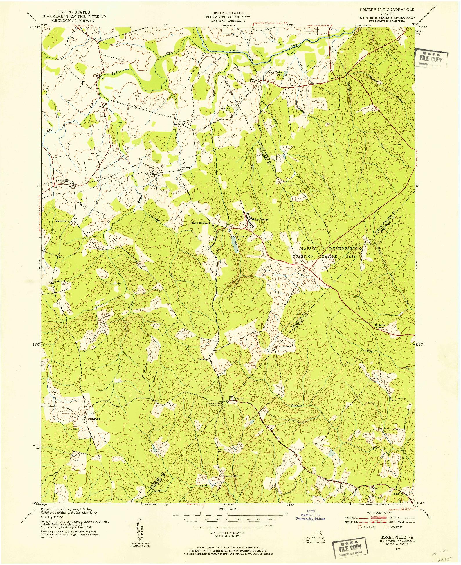 USGS 1:24000-SCALE QUADRANGLE FOR SOMERVILLE, VA 1953