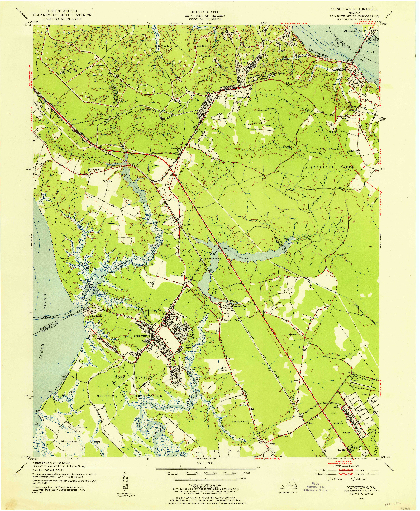 USGS 1:24000-SCALE QUADRANGLE FOR YORKTOWN, VA 1950
