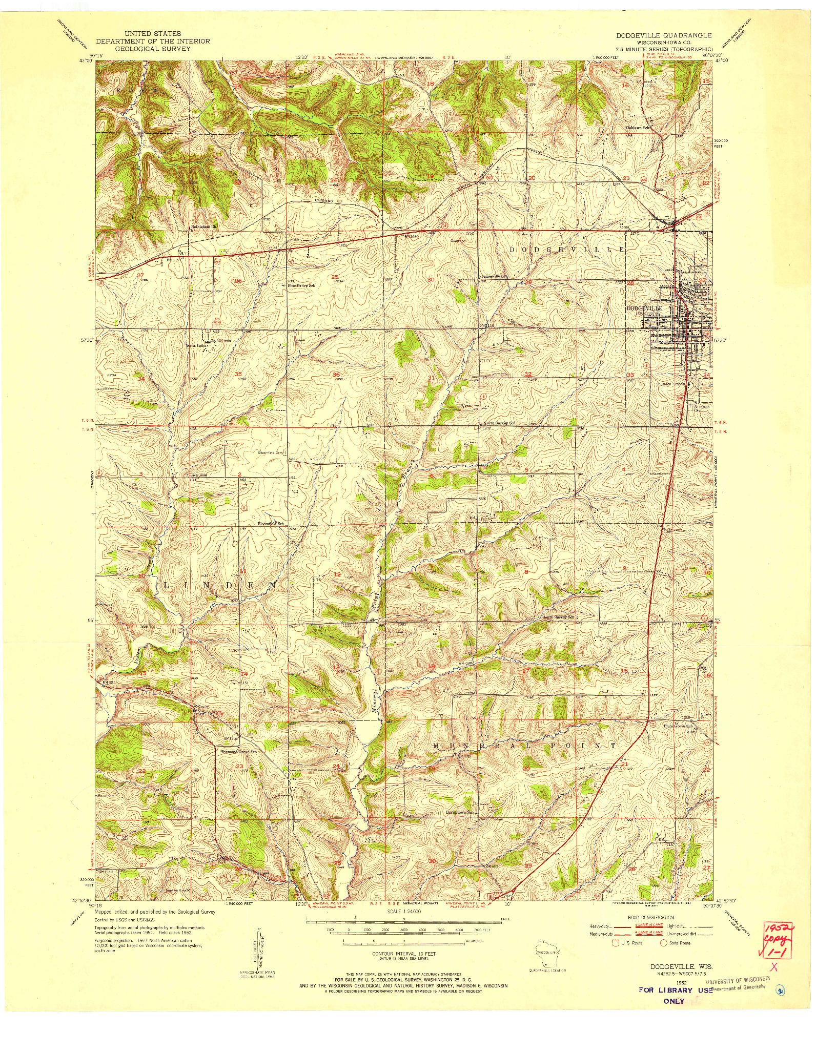USGS 1:24000-SCALE QUADRANGLE FOR DODGEVILLE, WI 1952