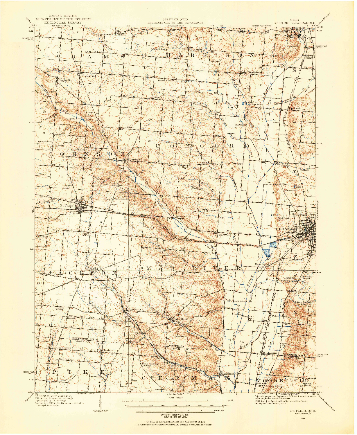 USGS 1:62500-SCALE QUADRANGLE FOR ST. PARIS, OH 1914